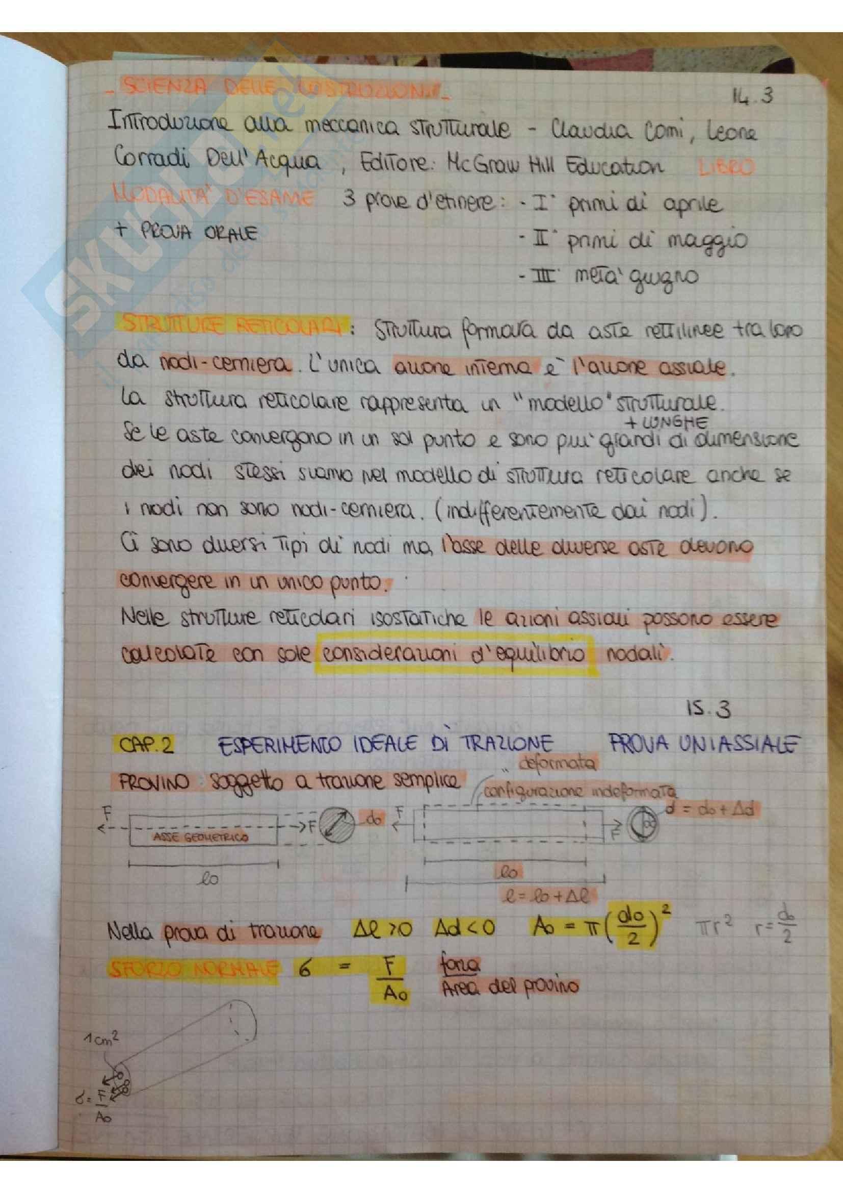 Scienza delle costruzioni, appunti ed esercitazioni, preparazione completa all'esame