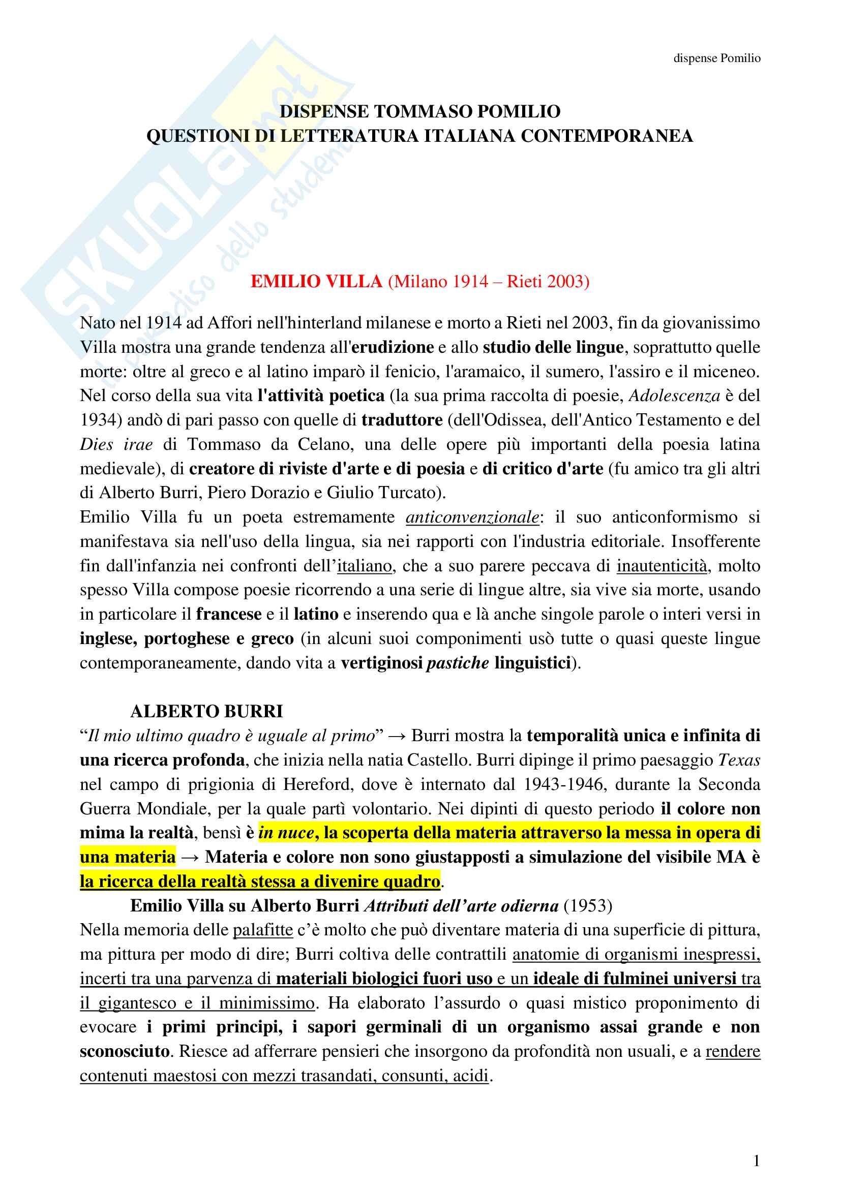 Riassunto esame Questioni di letteratura italiana contemporanea, prof Pomilio, libro consigliato: dispense del professore