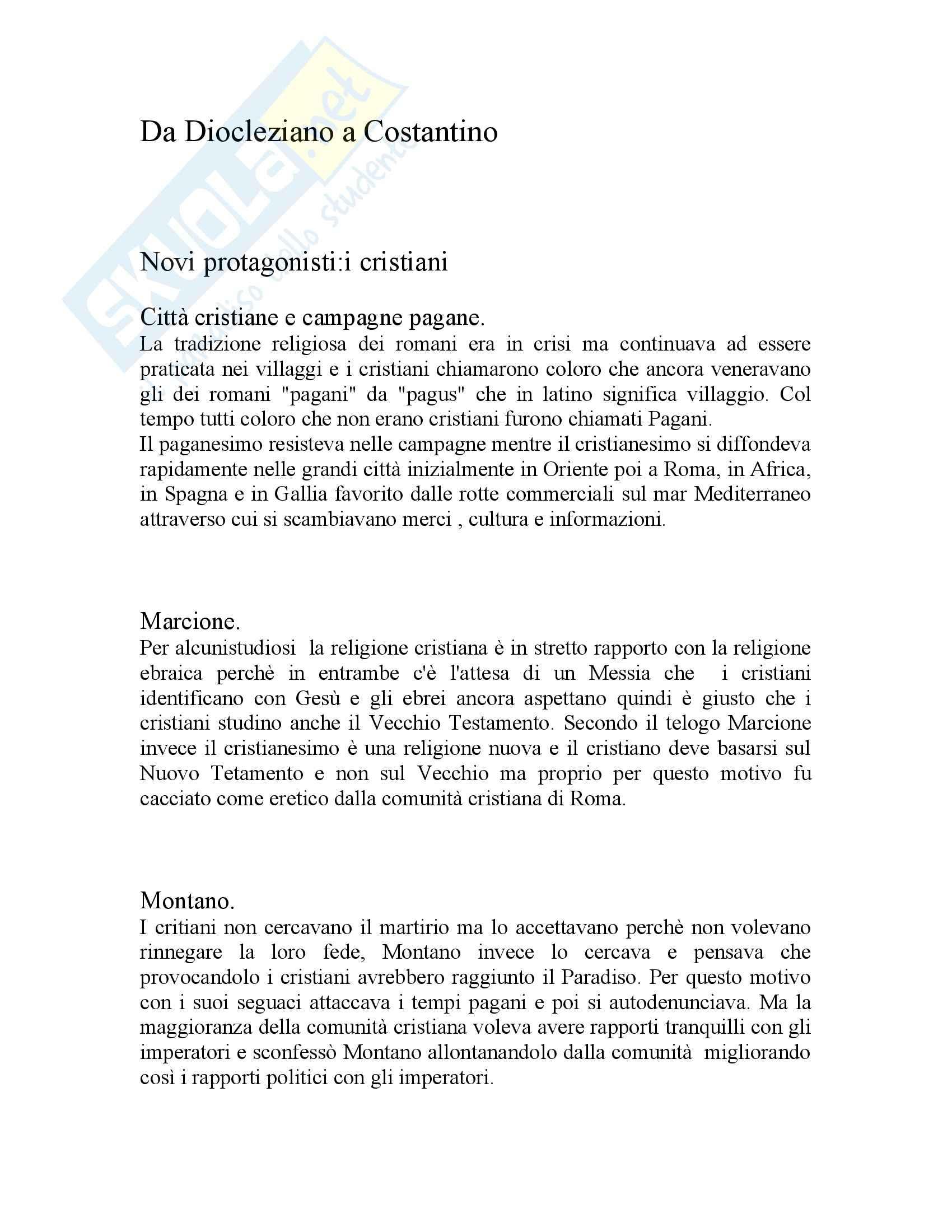 Storia Da Diocleziano a Costantino