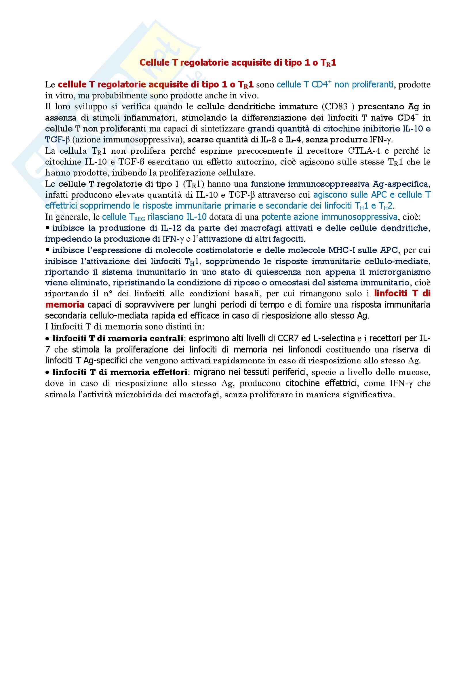 Immunologia - cellule T regolatorie acquisite di tipo 1 o TR1.
