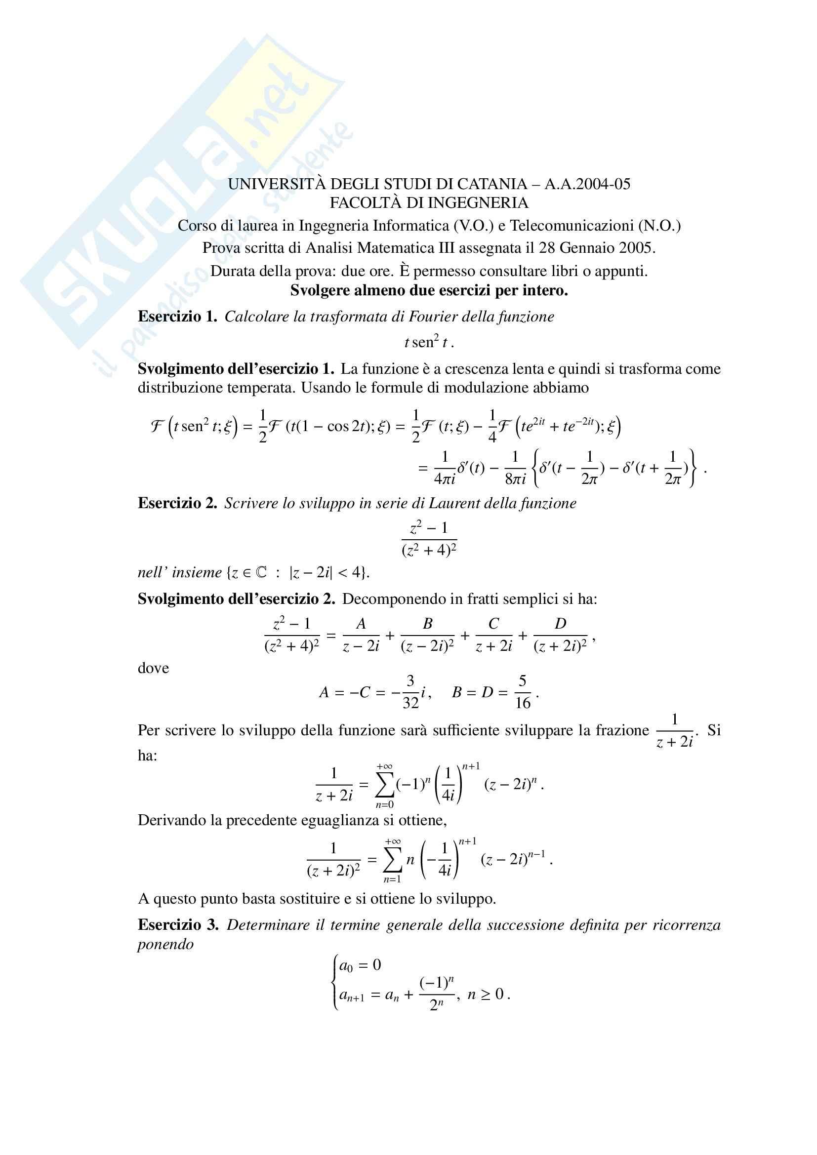 Analisi Matematica III - prova scritta