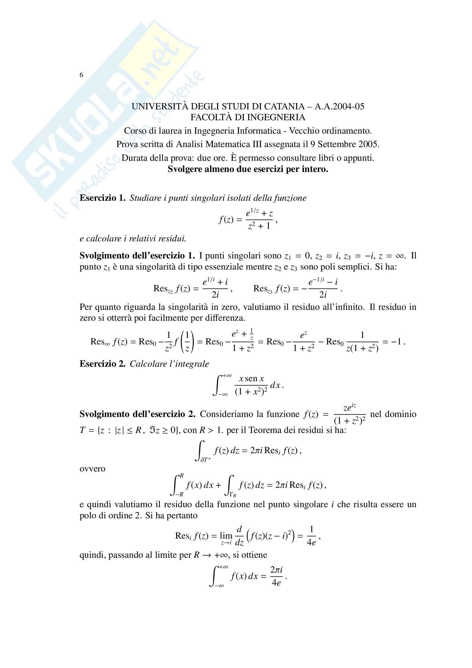 Analisi Matematica III - prova scritta Pag. 6