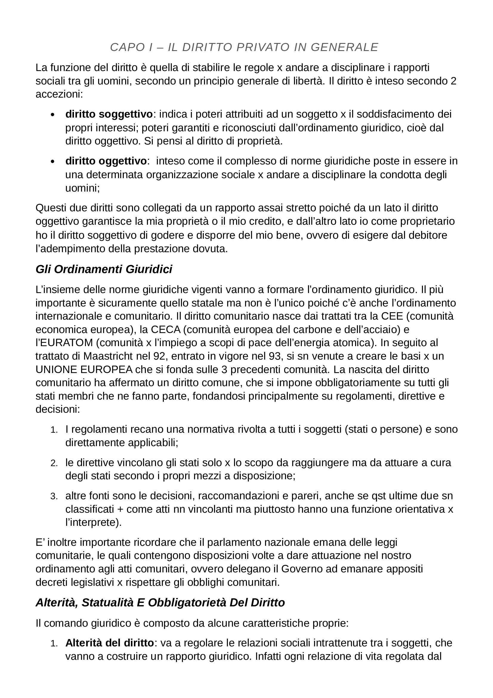 Riassunto esame Diritto Privato, prof. Botta, libro consigliato Istituzioni di Diritto Privato, Trabucchi