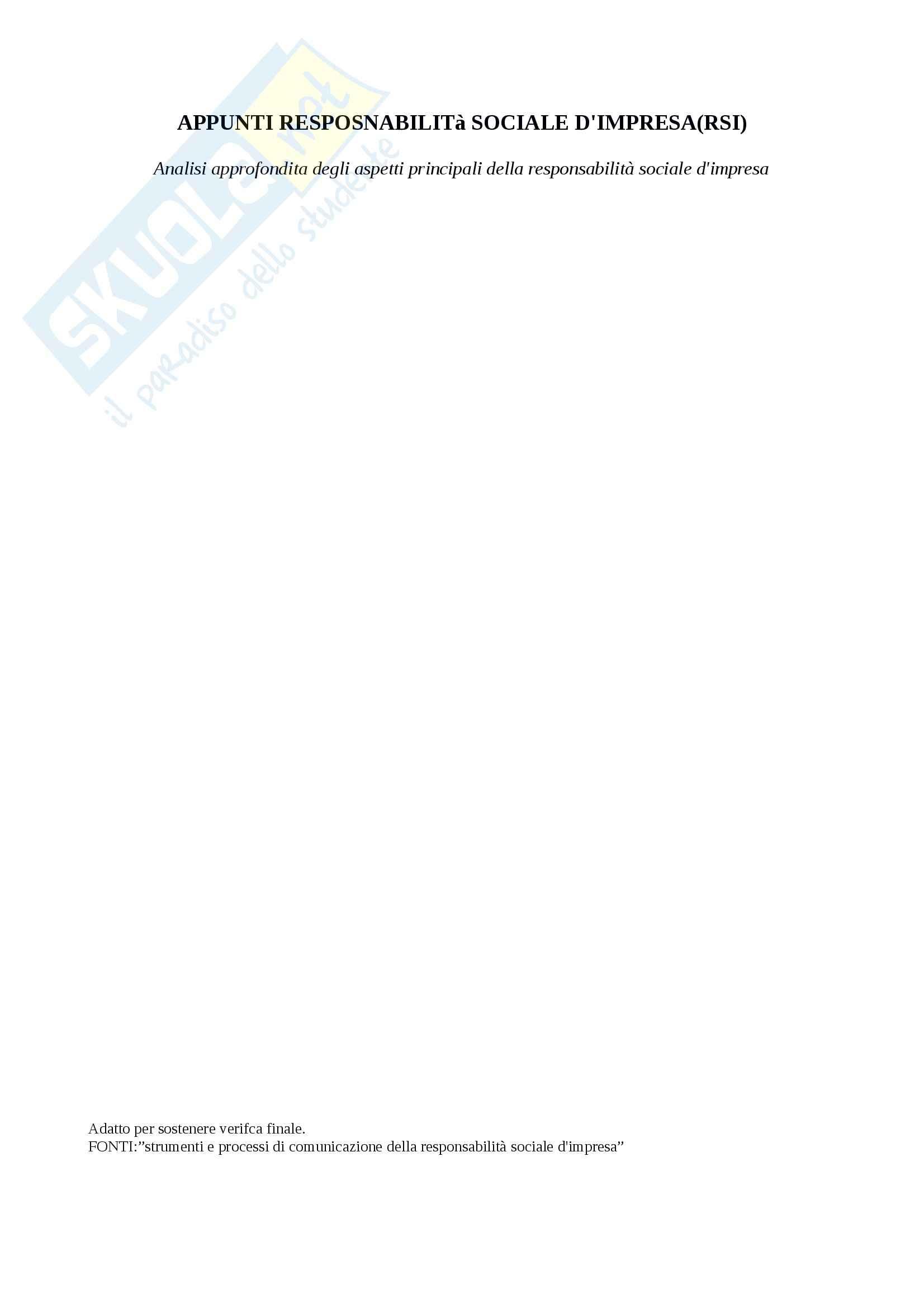 Riassunto esame responsabilita sociale d'impresa, prof. Furlotti, libro consigliato Strumenti e processi di comunicazione della responsabilità sociale d'impresa, Furlotti