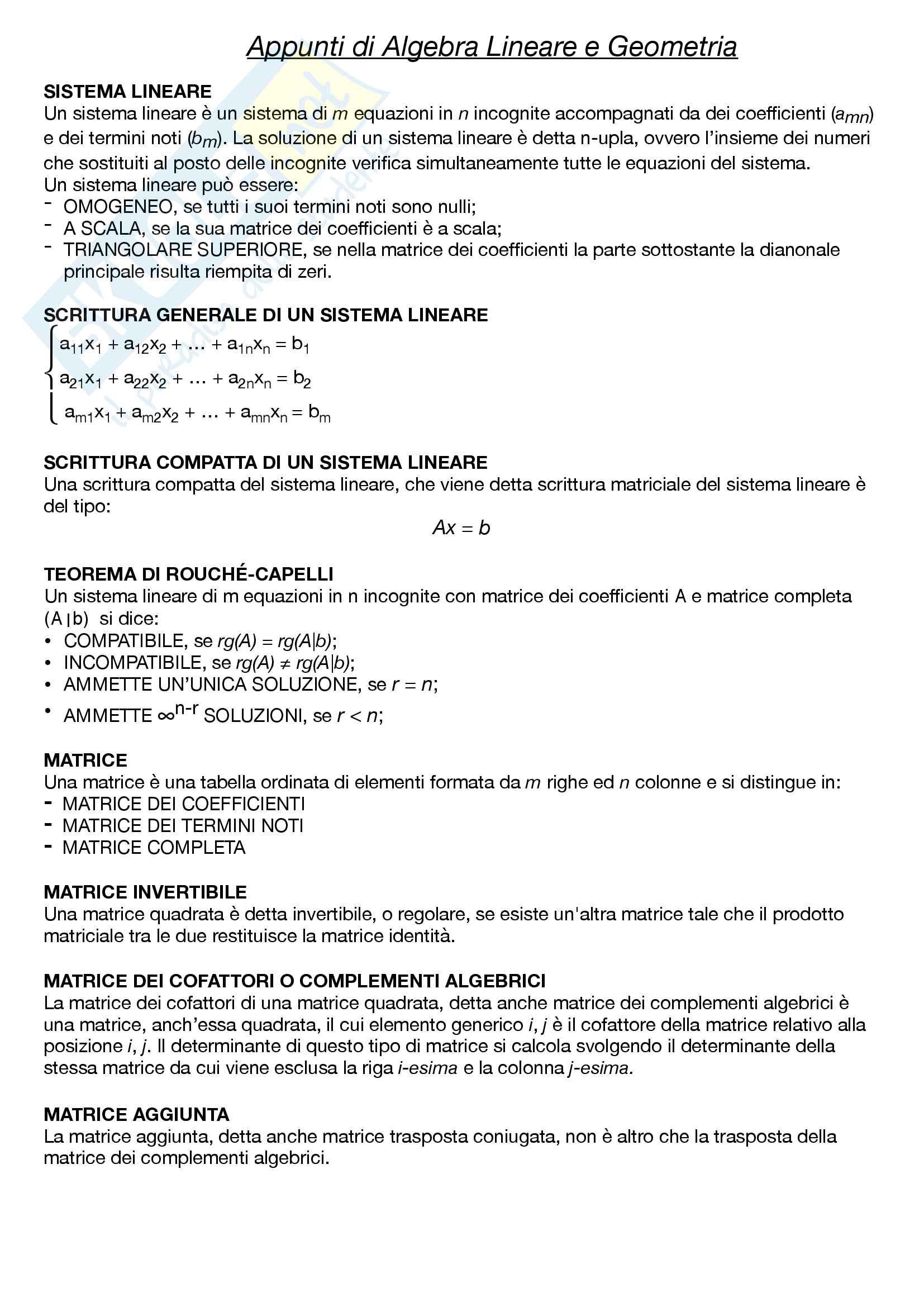Algebra Lineare e Geometria Pag. 2