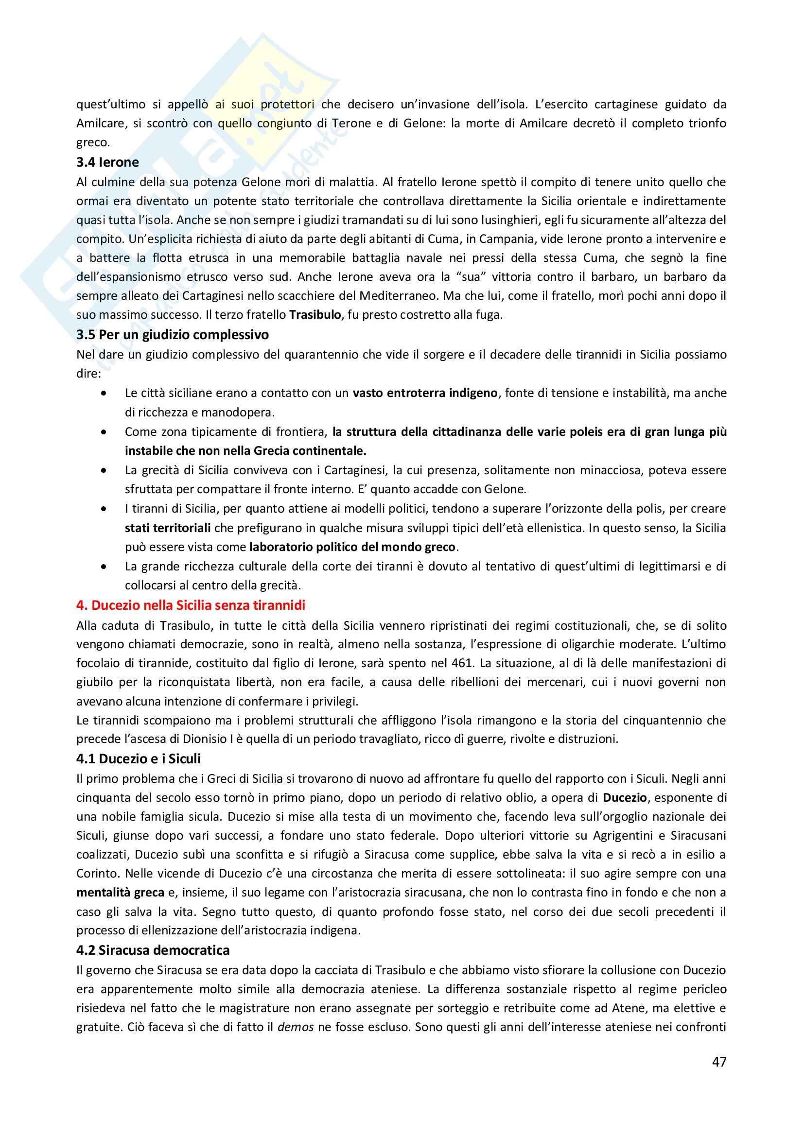 Riassunto esame Storia Greca, prof. Guizzi, libro consigliato Manuale Storia Greca, Bettalli, d'Agata, Magnetto Pag. 46