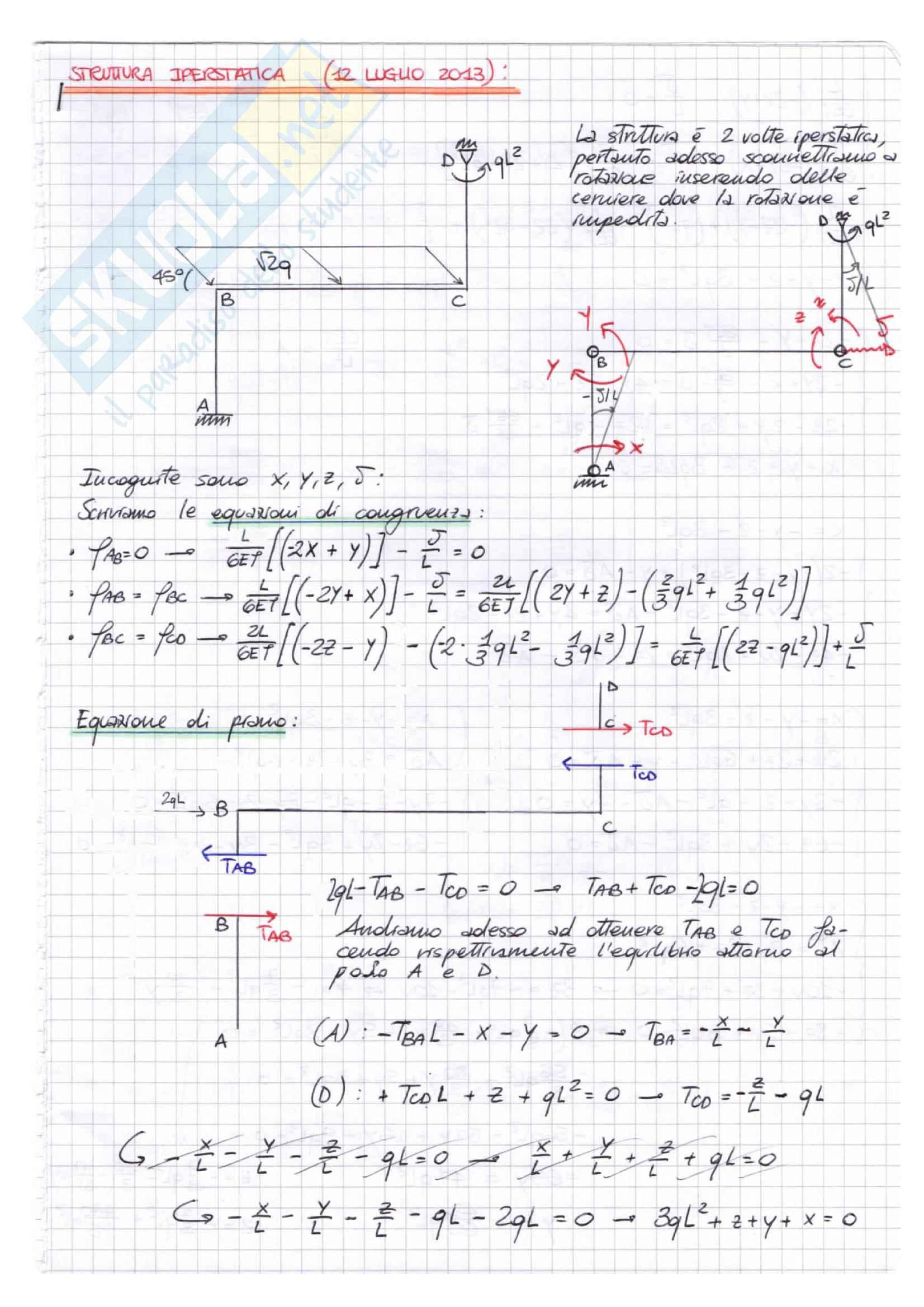 IPERSTATICHE (metodo dei MOMENTI), Scienza delle Costruzioni