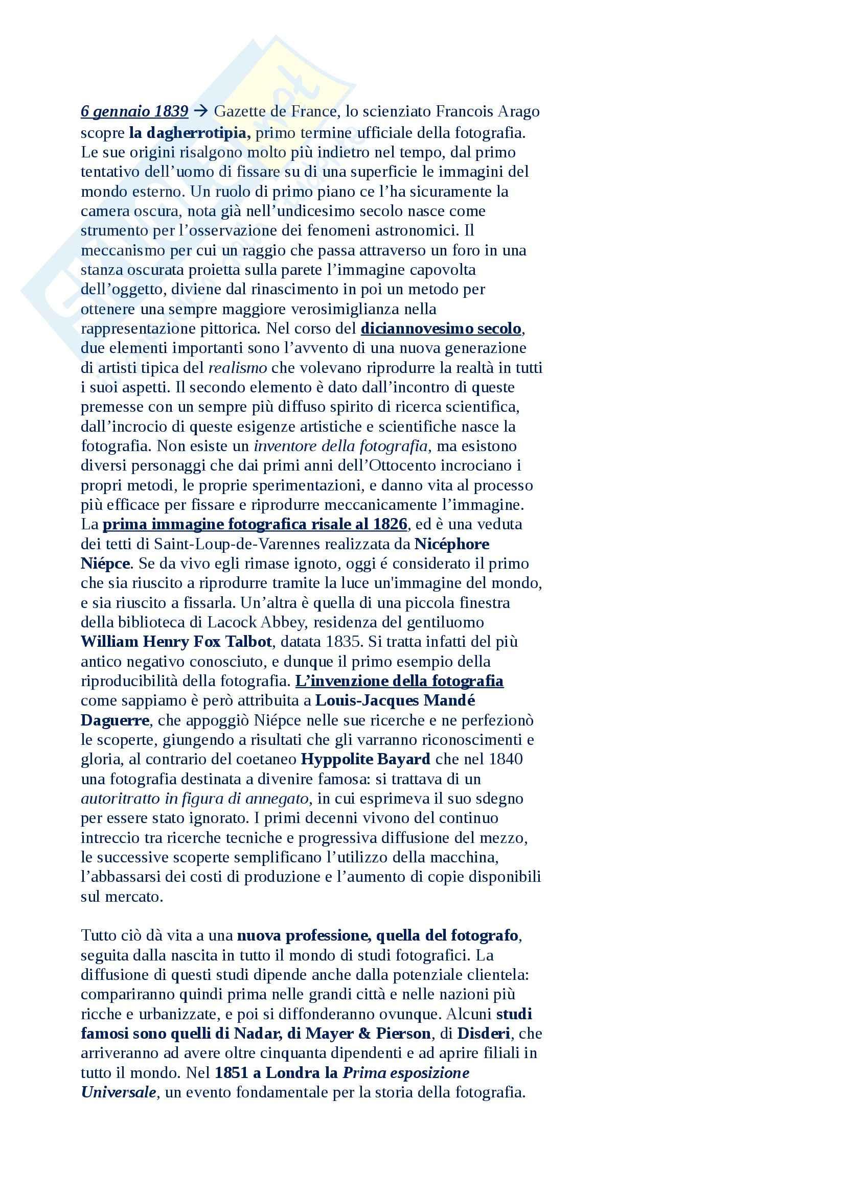Riassunto esame Fondamenti di Storia della Fotografia, prof. Pradi, libro consigliato Fotografia di Guadagnini