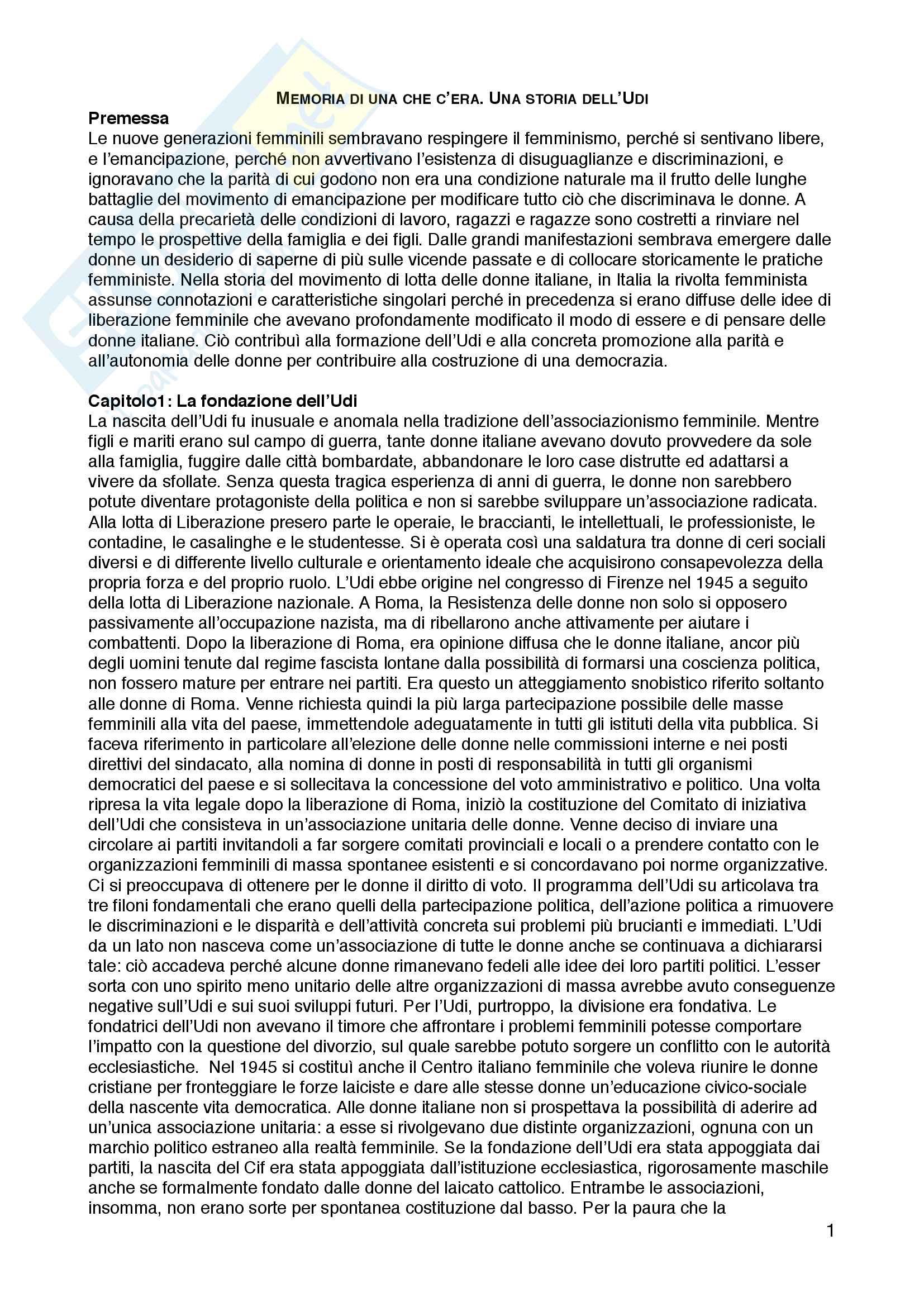 """Riassunto esame Sociologia dell'educazione, prof. Andrea Spini, libro consigliato """"Memorie di una che c'era. Una storia dell'Udi"""", Marisa Rodano"""