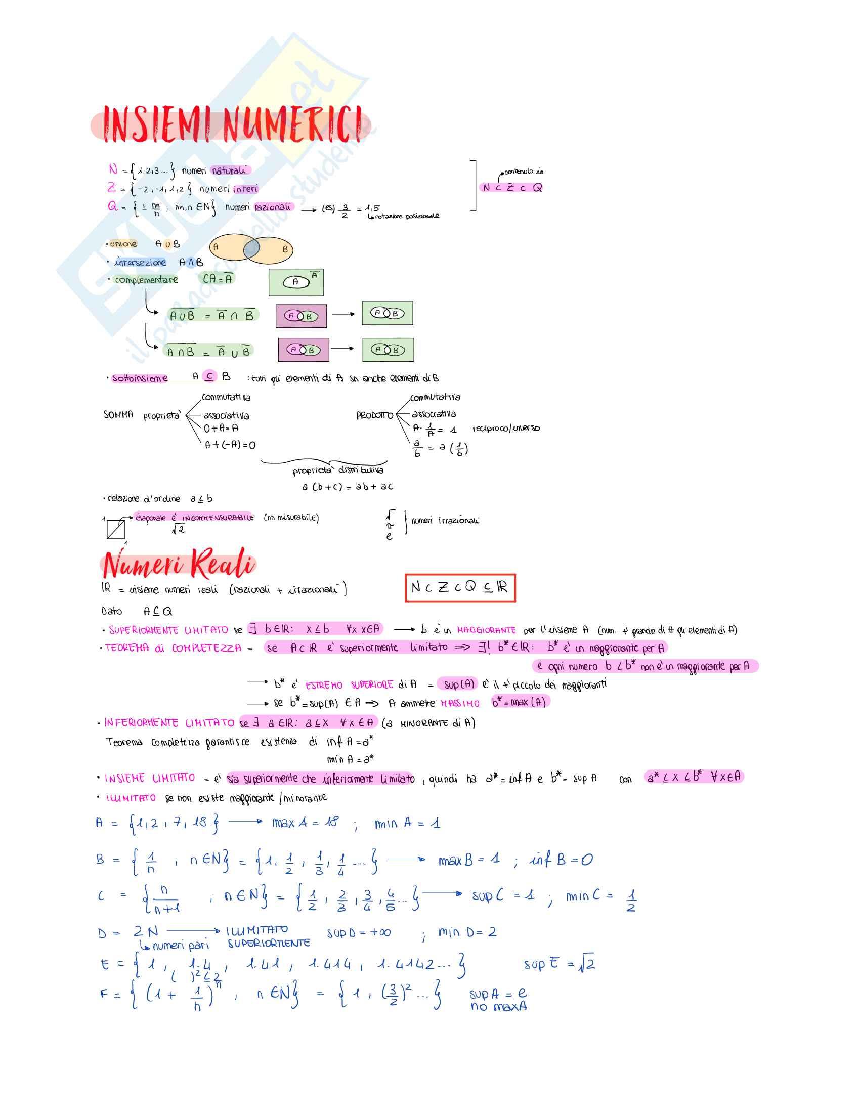 Matematica - Insiemi, Limiti, Derivate, Integrali, Equazioni differenziali, Vettori e Matrici