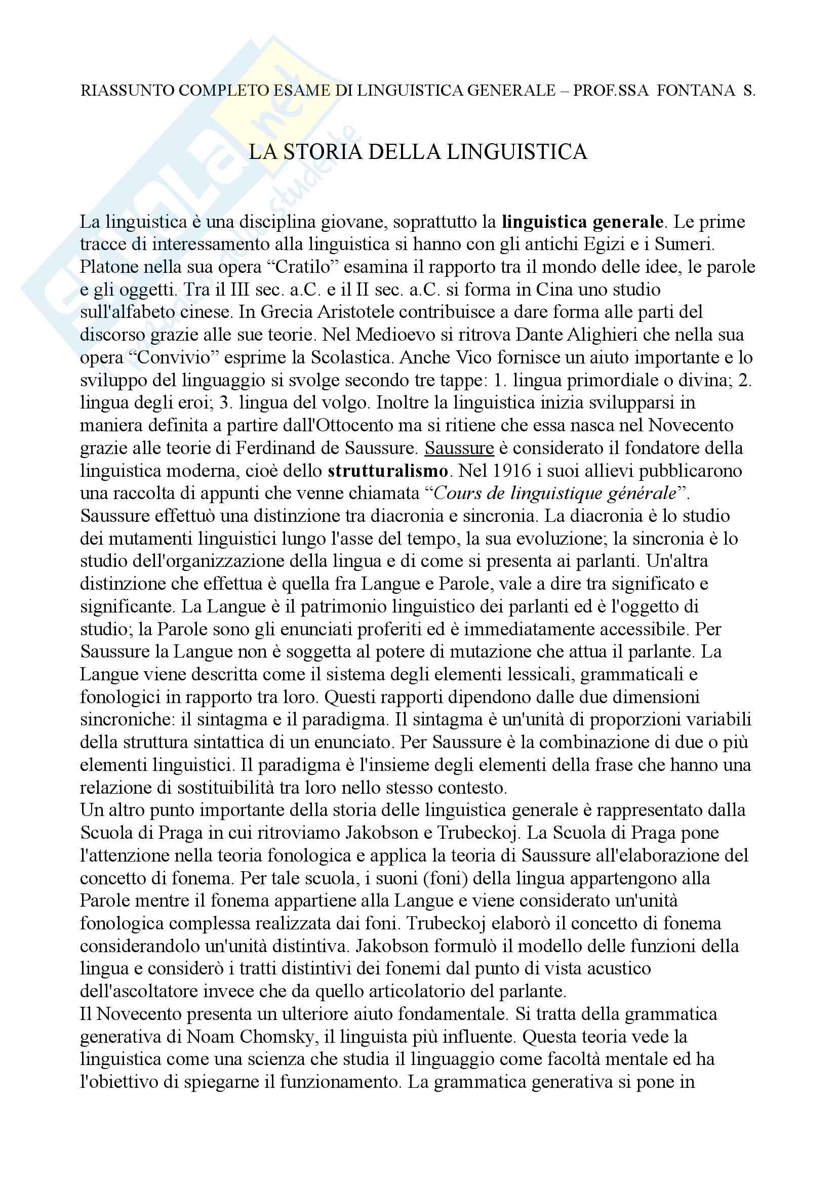 Riassunto esame Linguistica Generale, Prof.ssa Fontana, libro consigliato La Linguistica, un corso introduttivo, Berruto, Cerruti