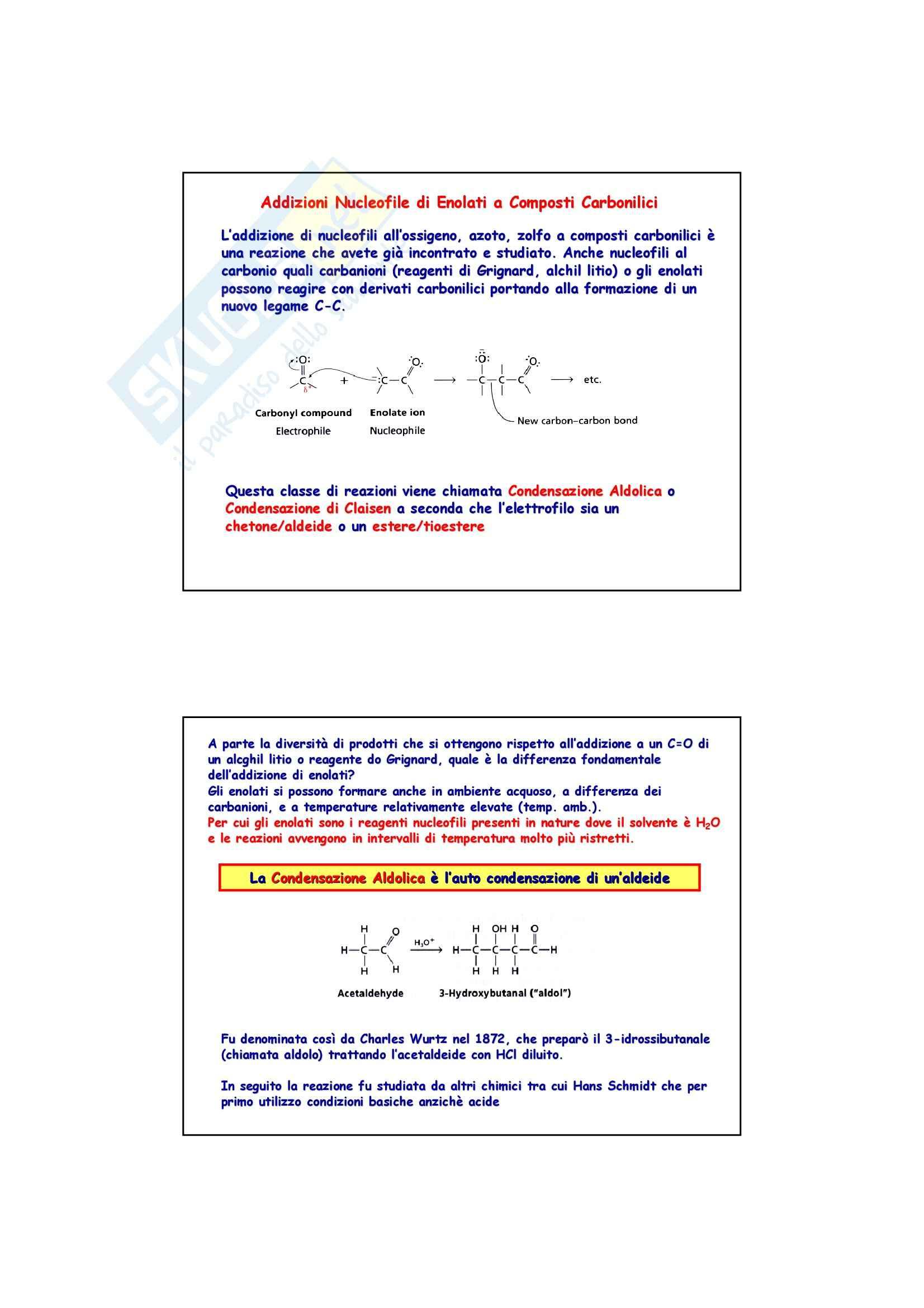 Chimica organica - Condensazione aldolica