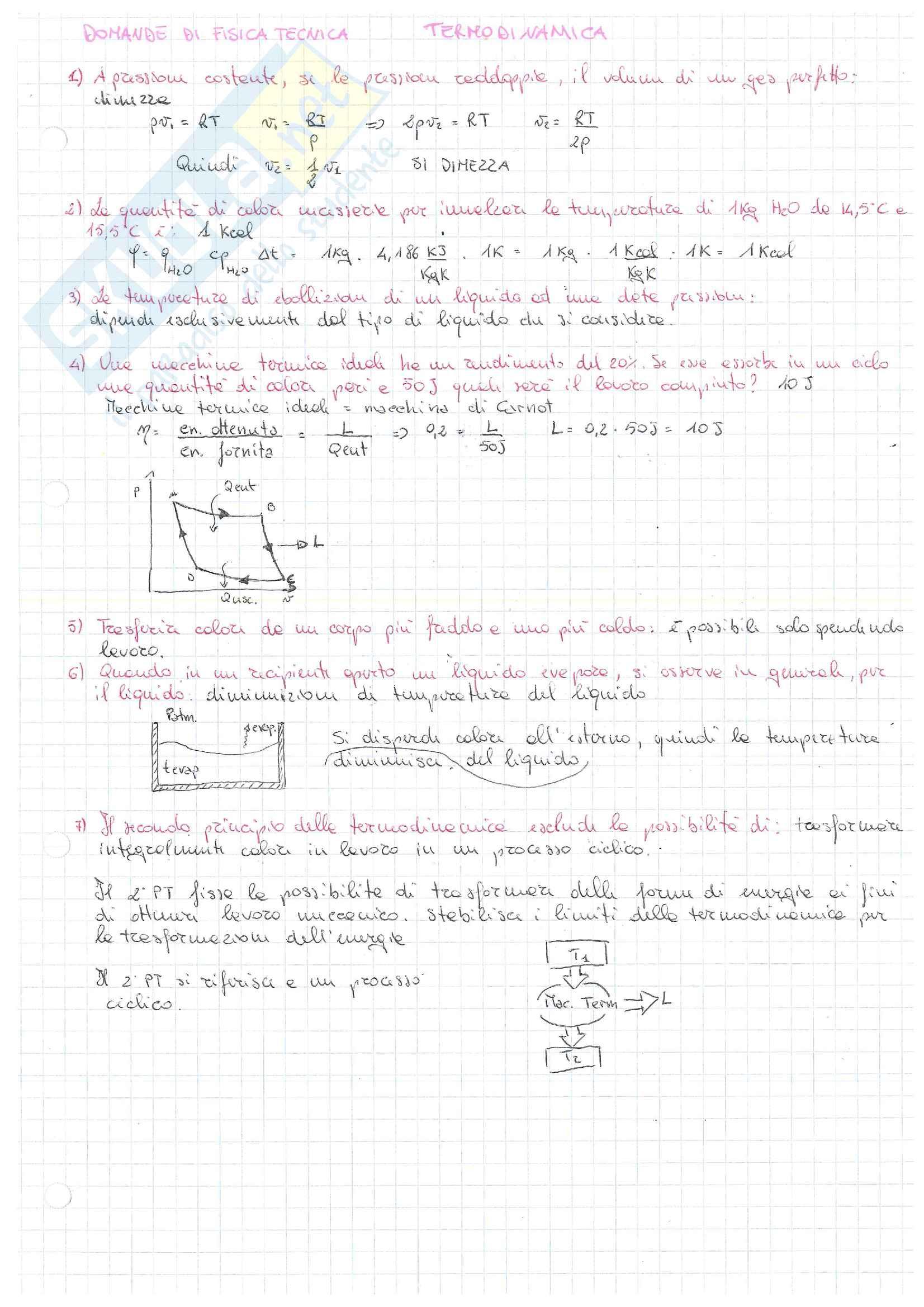 Domande di fisica tecnica
