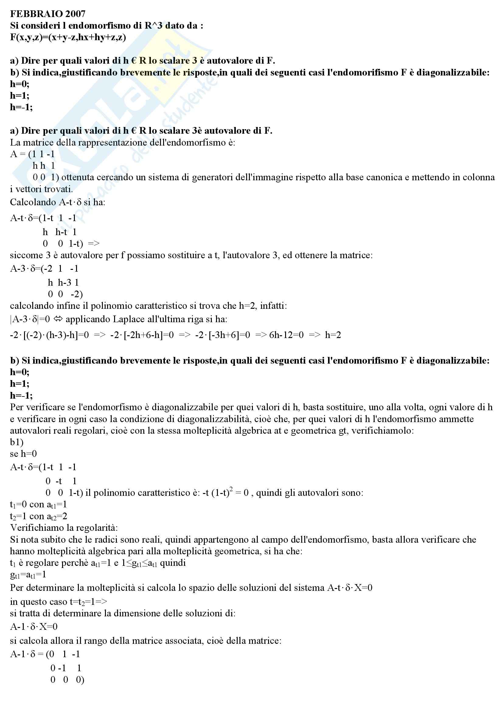Geometria e Algebra - Endomorfismo esercizi svolti