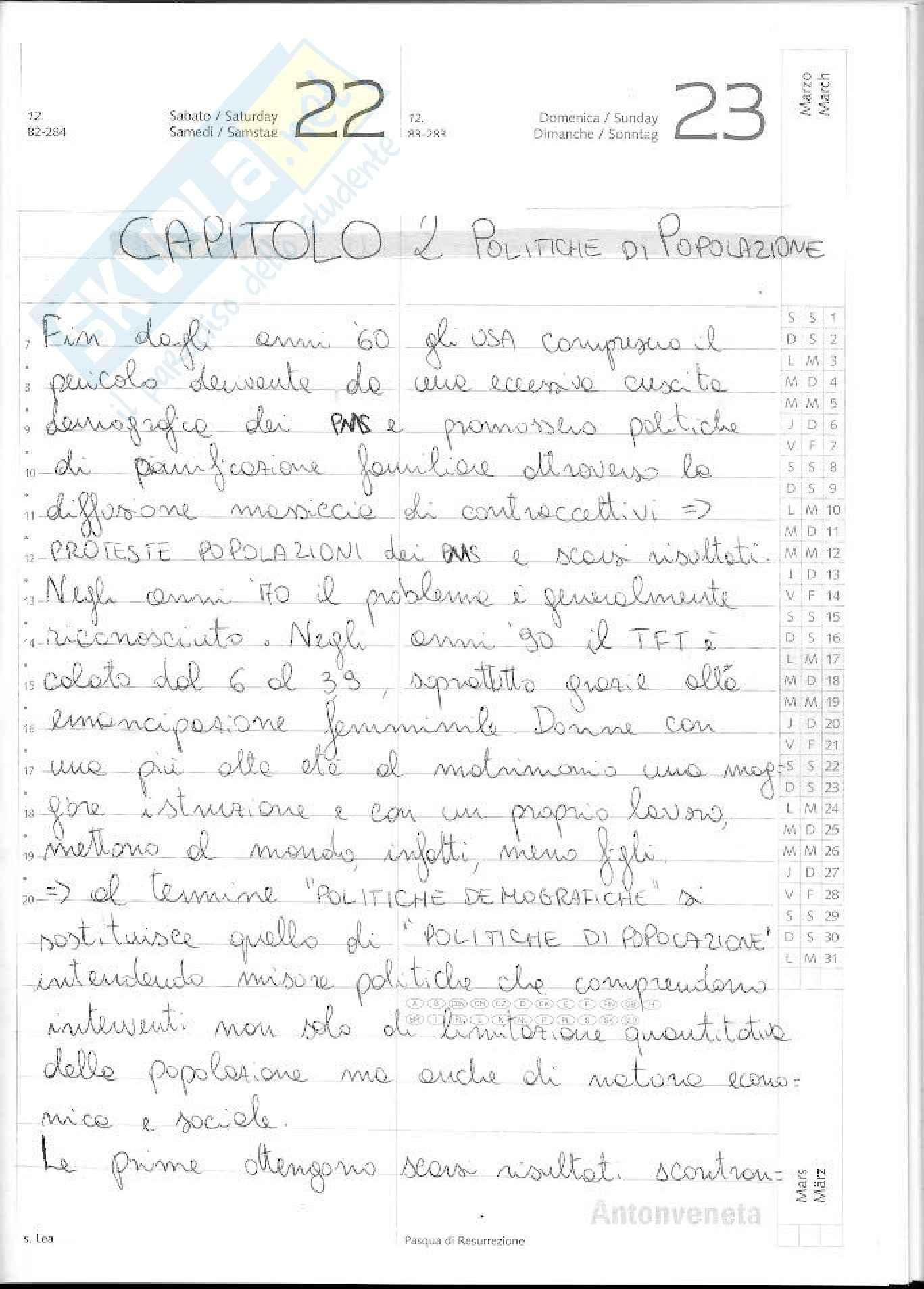 Riassunto esame Demografia e sviluppo, prof. Nobile, libro consigliato Politiche di popolazione e migrazioni, Bussini