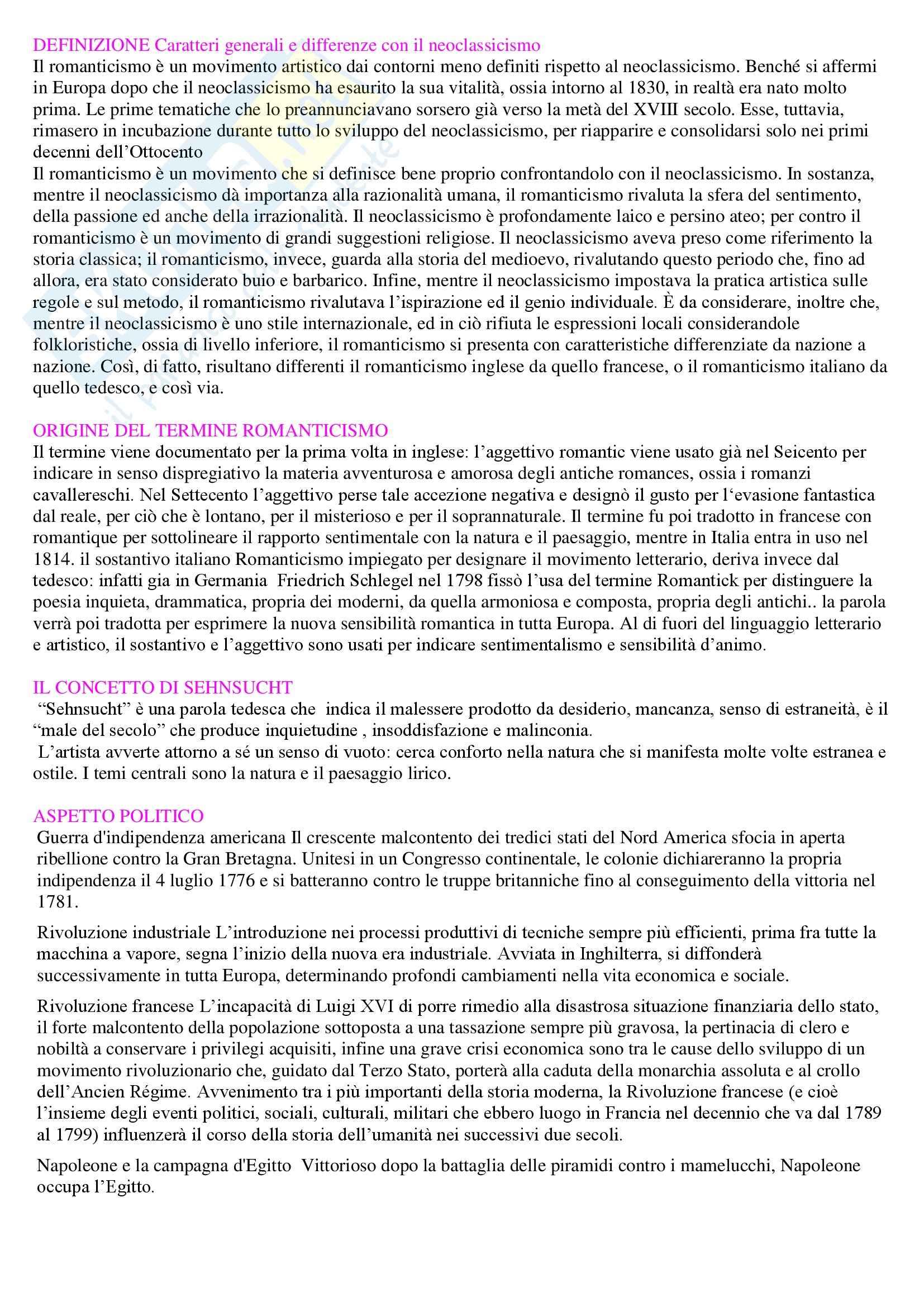 Letteratura italiana - Romanticismo