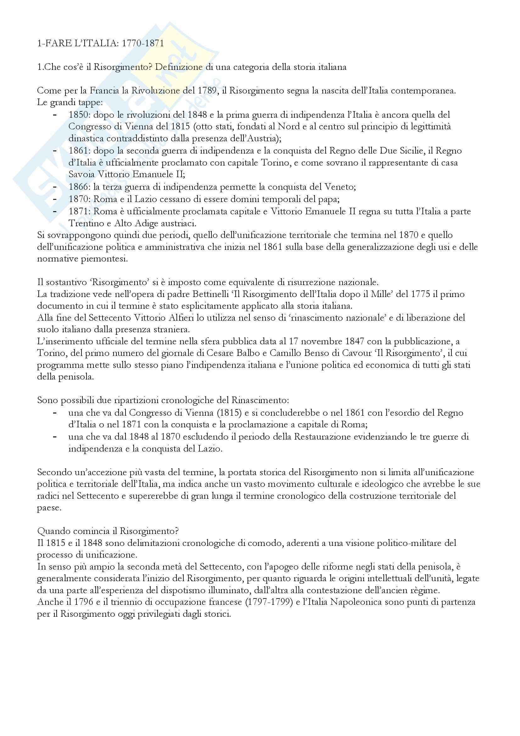 Riassunto esame Storia del Risorgimento, prof. Betri, libro consigliato Il Lungo Risorgimento, Pecout