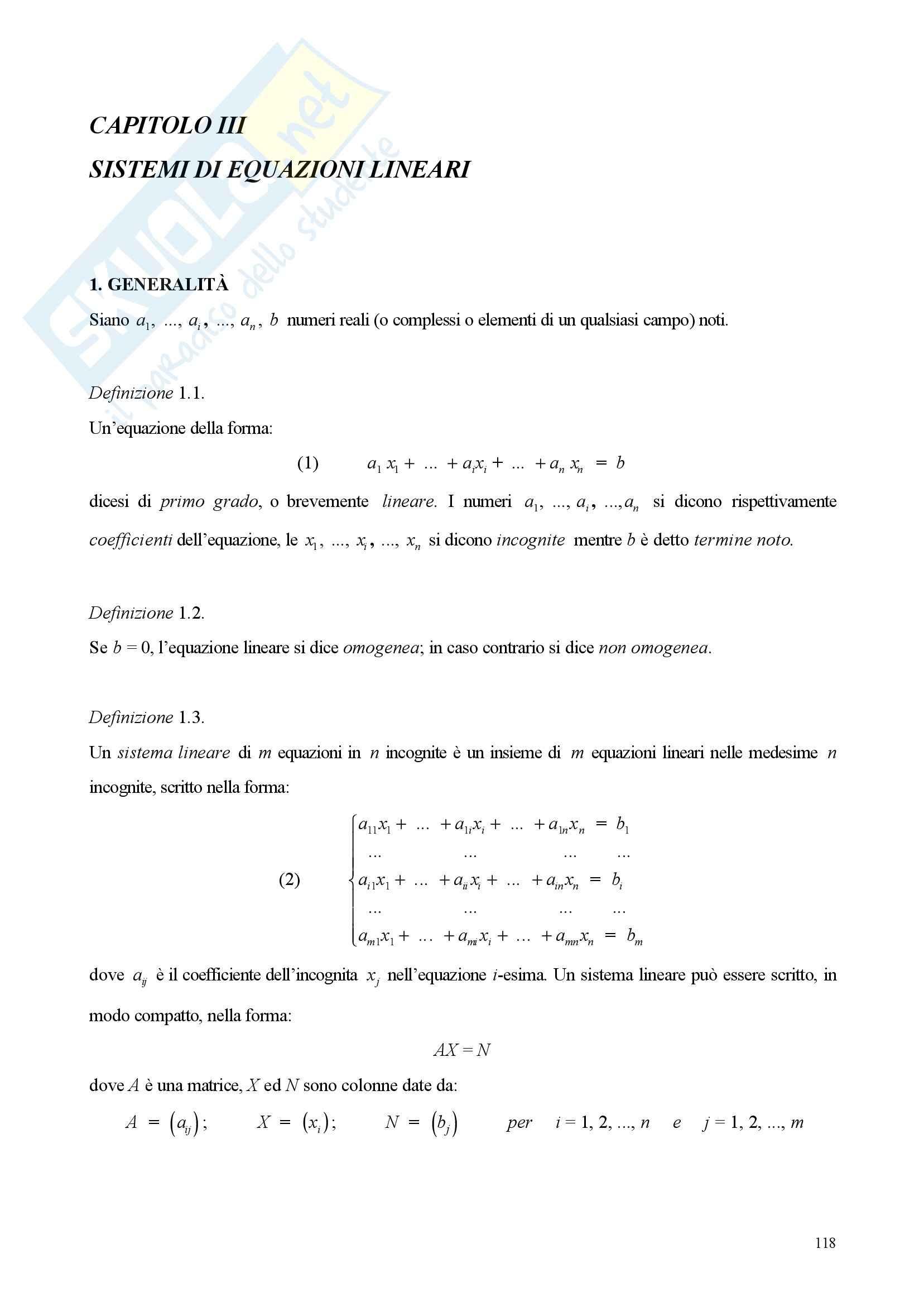 Sistemi di equazioni lineare - Appunti e esercizi