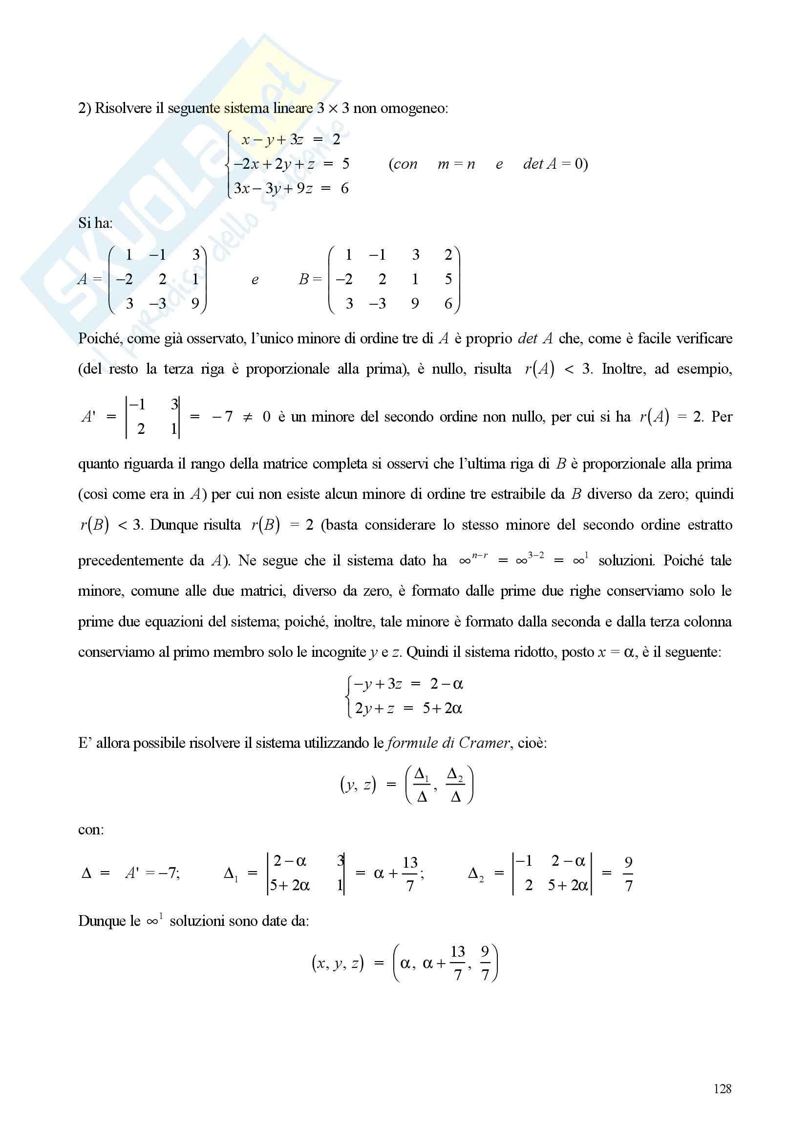 Sistemi di equazioni lineare - Appunti e esercizi Pag. 11