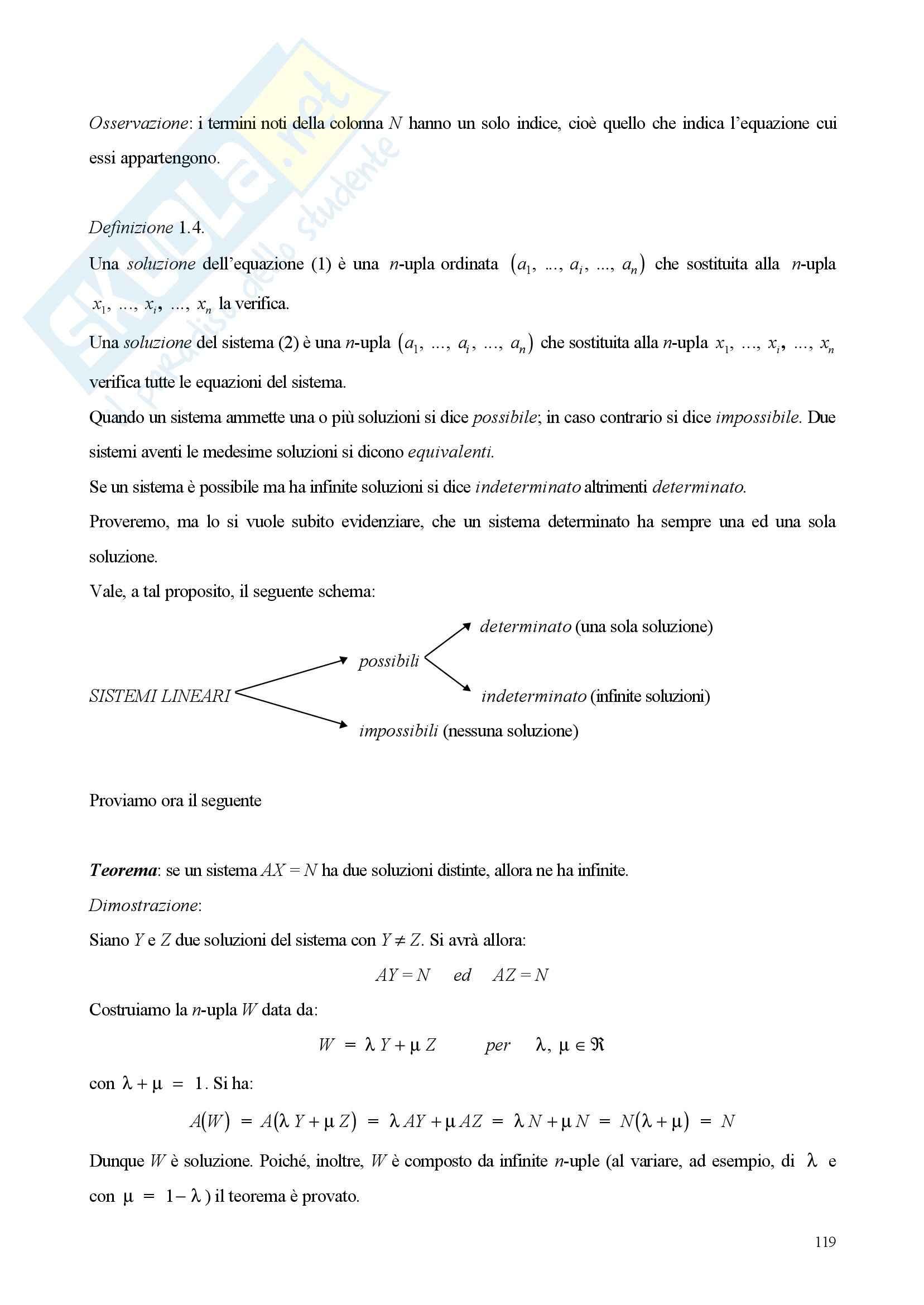 Sistemi di equazioni lineare - Appunti e esercizi Pag. 2
