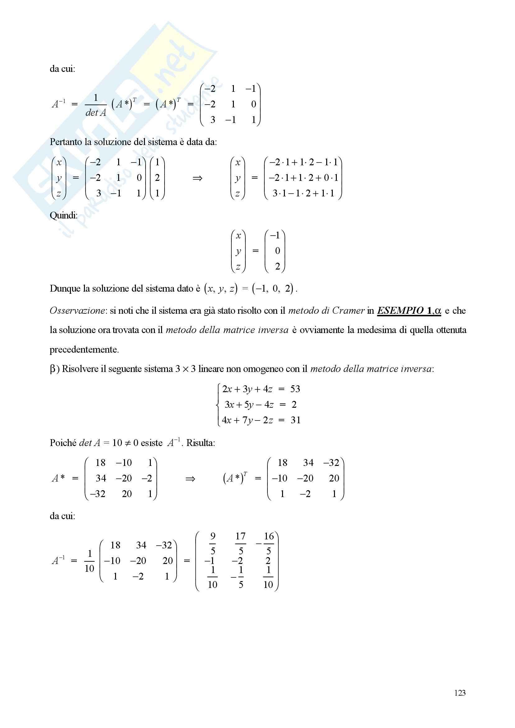 Sistemi di equazioni lineare - Appunti e esercizi Pag. 6