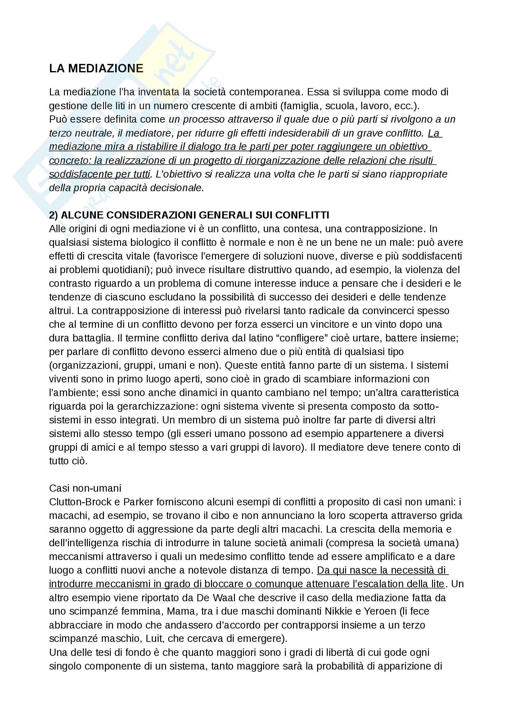 Riassunto esame e Appunti completi di Consulenza per l'esame del Prof. Castelli su La mediazione, Bicocca