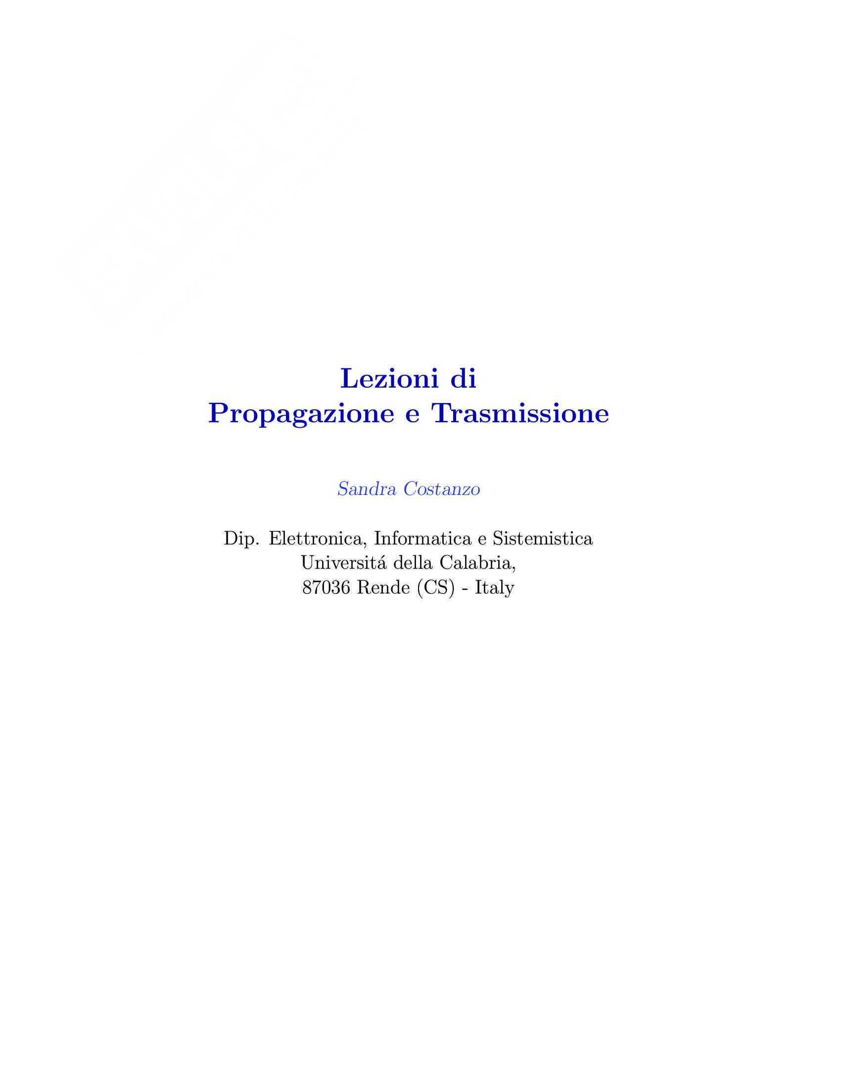 Propagazione e trasmissione