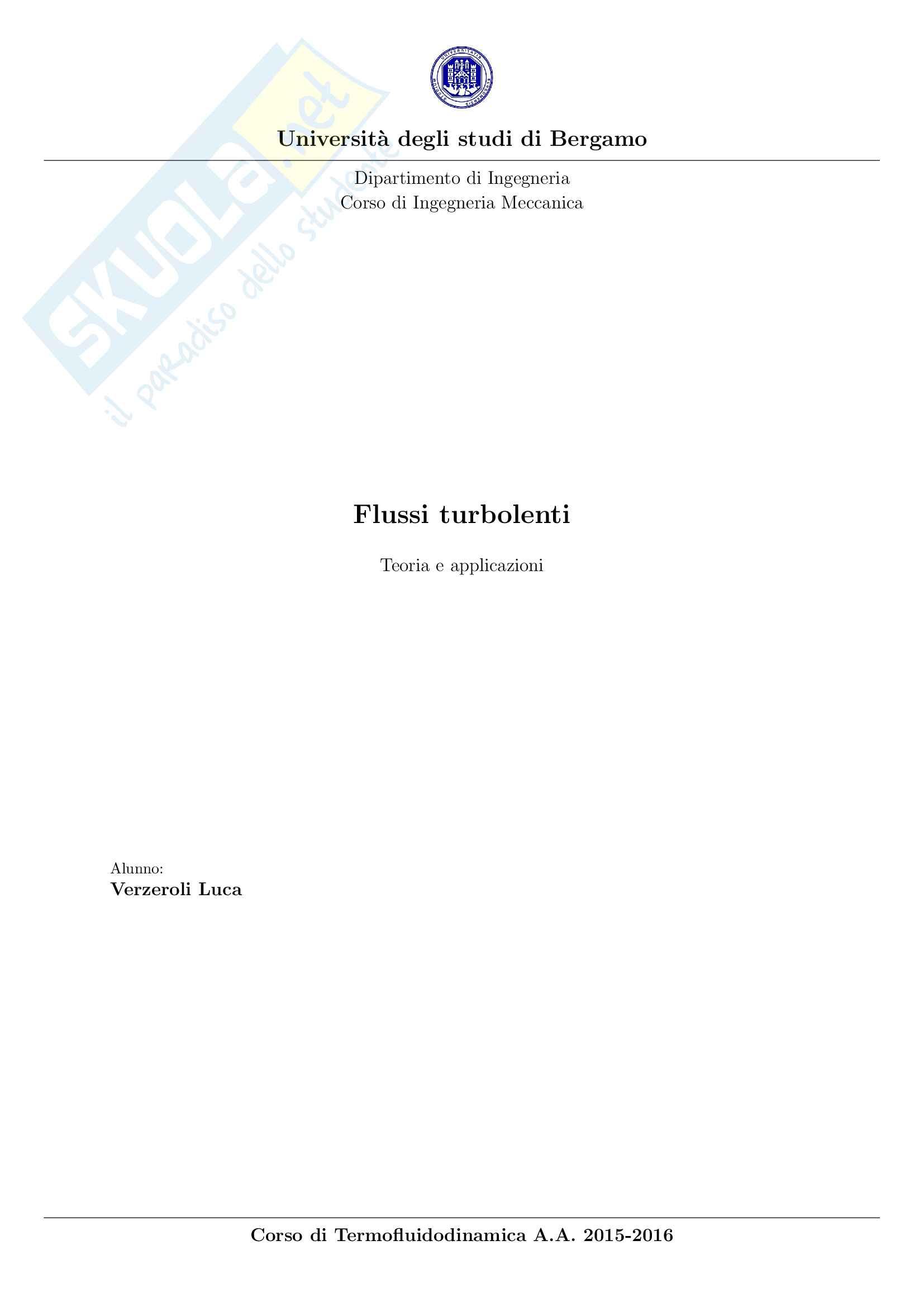 Flussi turbolenti Pag. 1
