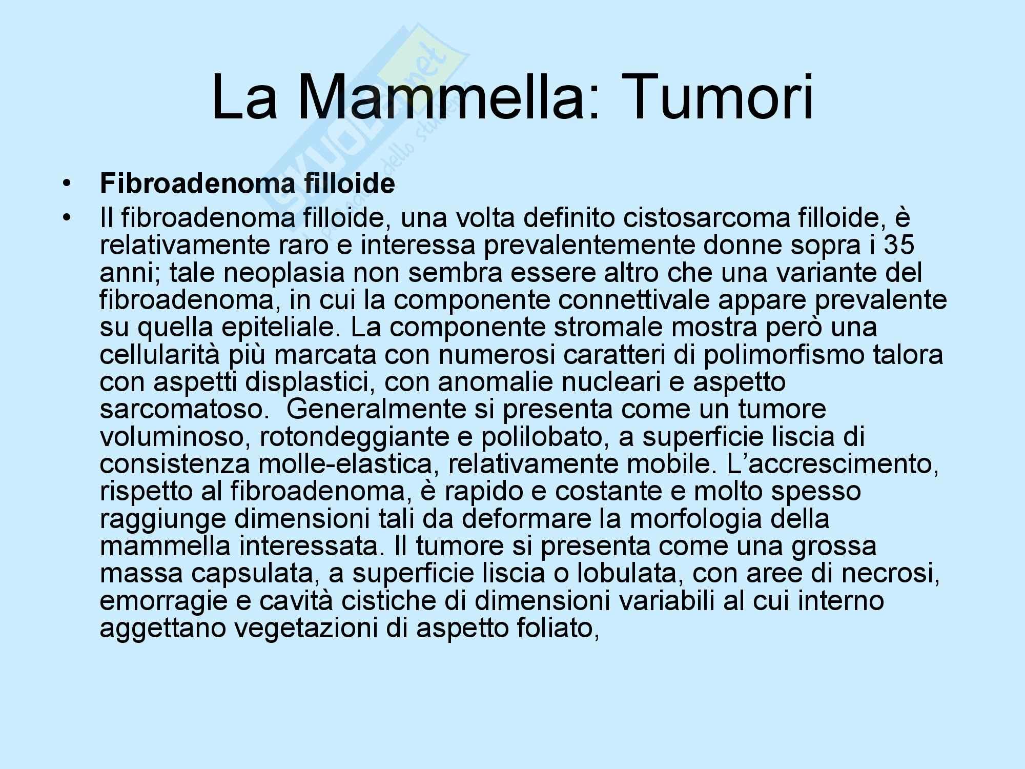 Tumori Mammella - Semeiotica Chirurgica. Pag. 6
