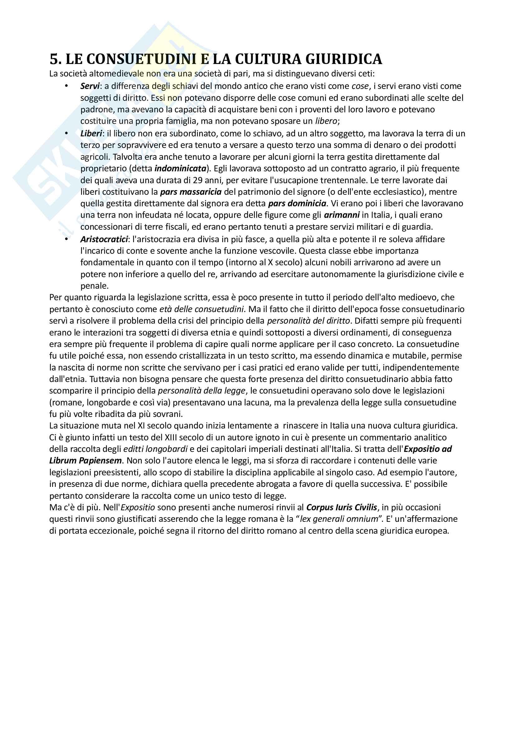 Riassunto per l'esame di Storia del diritto italiano, prof Miletti, libro consigliato Storia del diritto in Europa, di Padoa Schioppa Pag. 6