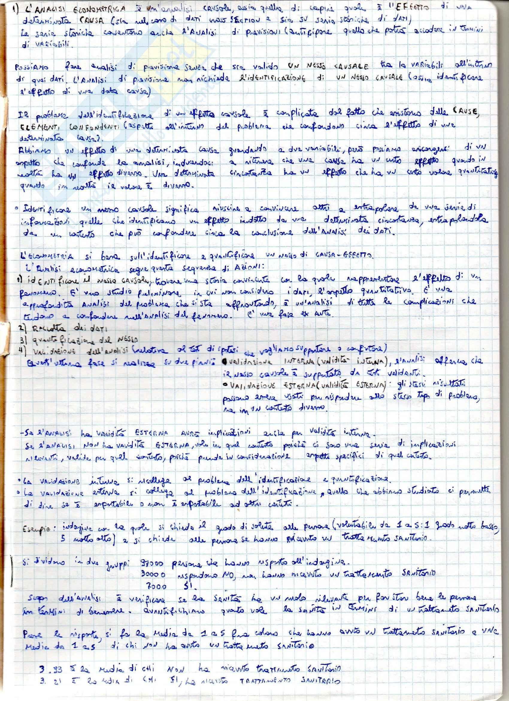 Appunti per l'esame di Econometria, prof. Acconcia