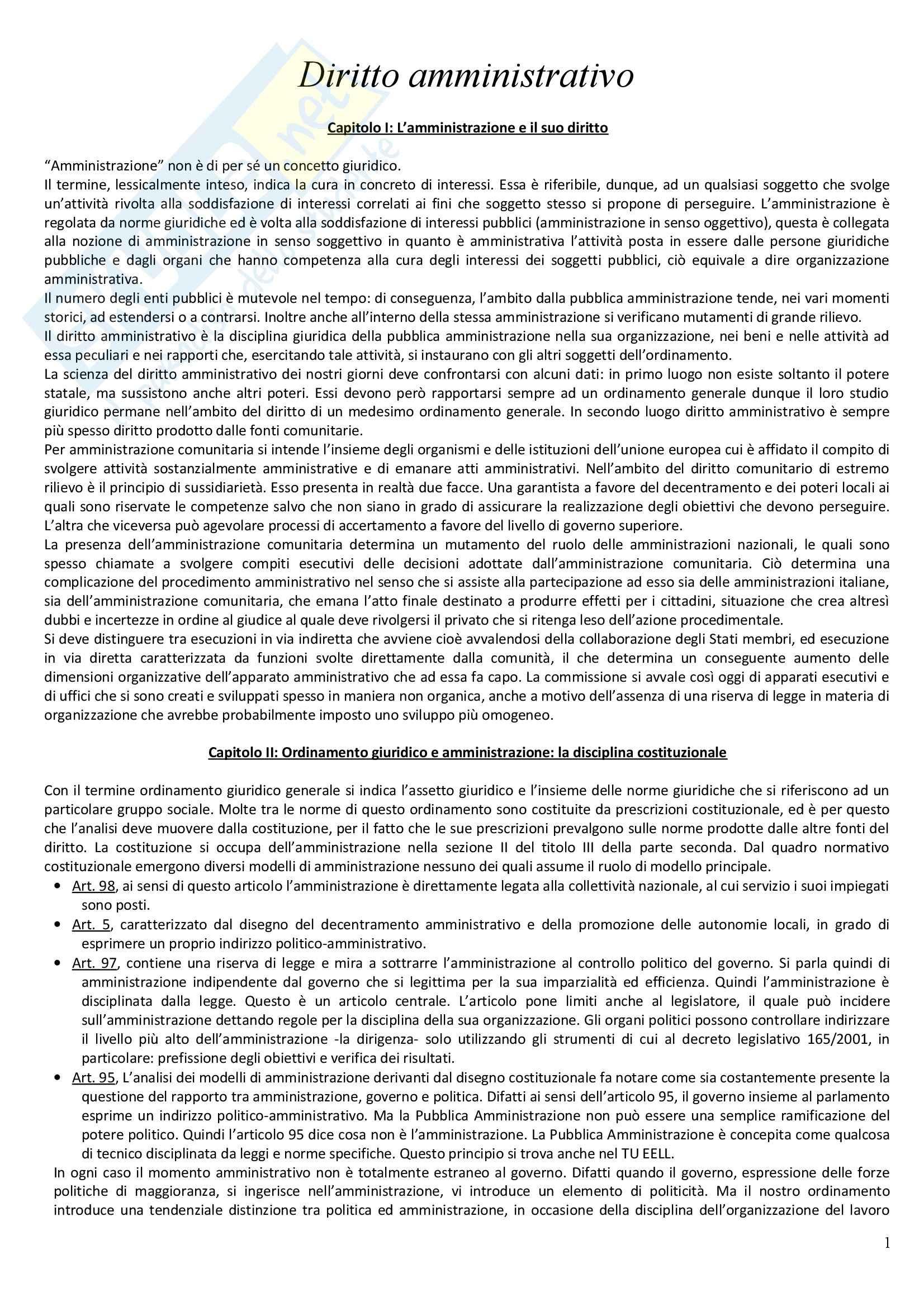 Riassunto esame Diritto Amministrativo, prof. Casetta, libro consigliato Manuale di Diritto Amministrativo