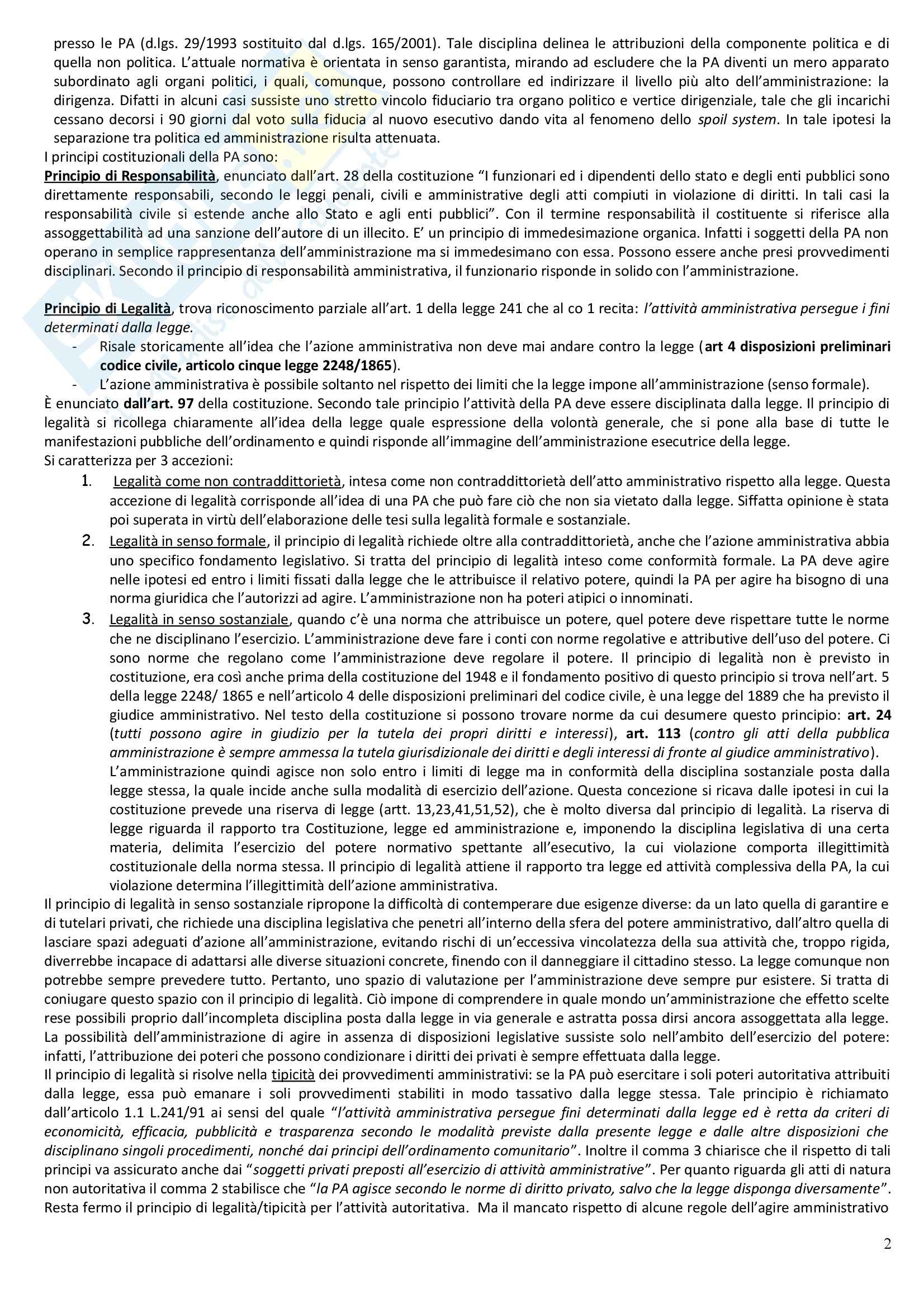Riassunto esame Diritto Amministrativo, prof. Casetta, libro consigliato Manuale di Diritto Amministrativo Pag. 2