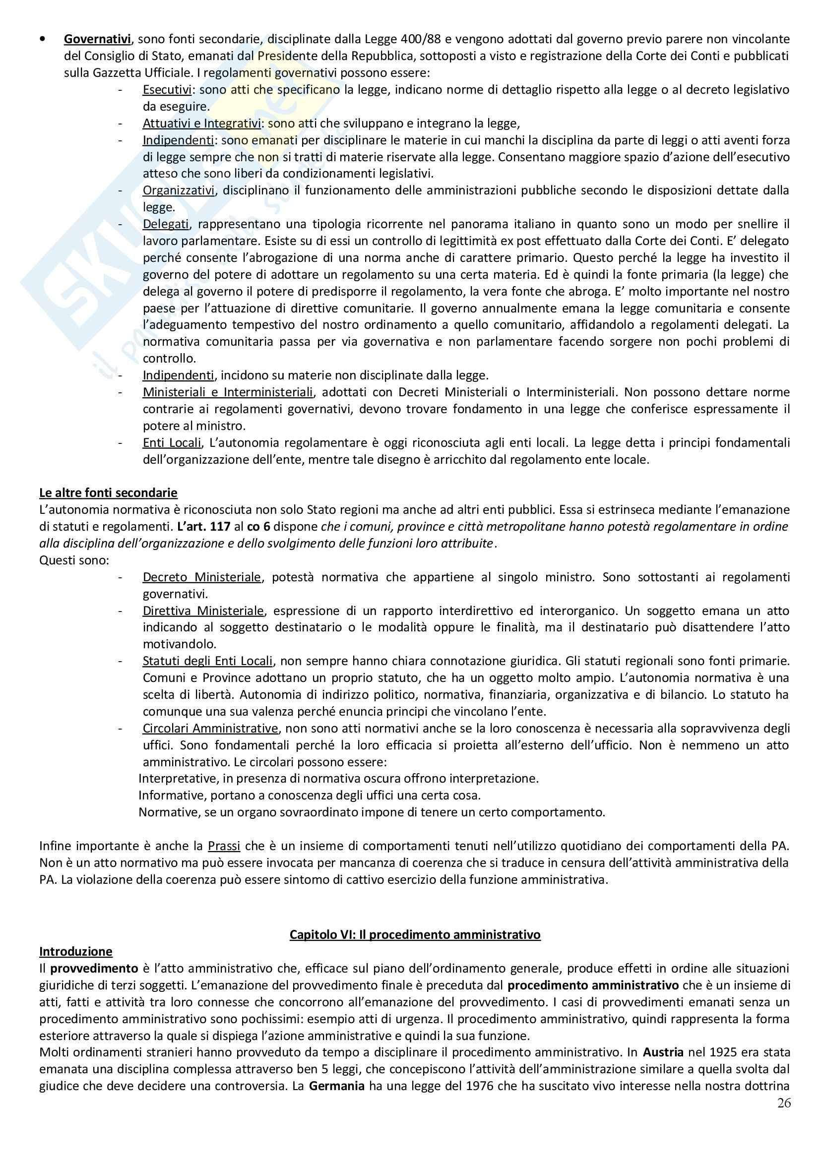 Riassunto esame Diritto Amministrativo, prof. Casetta, libro consigliato Manuale di Diritto Amministrativo Pag. 26