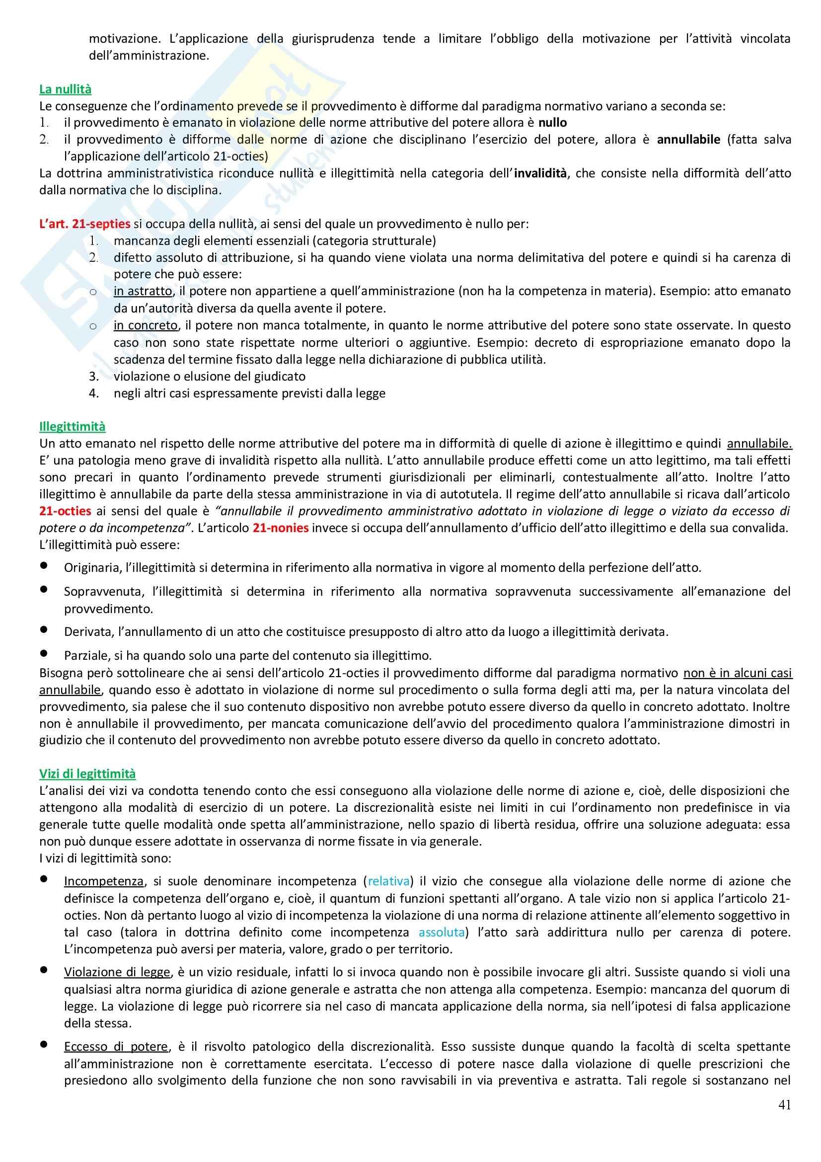 Riassunto esame Diritto Amministrativo, prof. Casetta, libro consigliato Manuale di Diritto Amministrativo Pag. 41