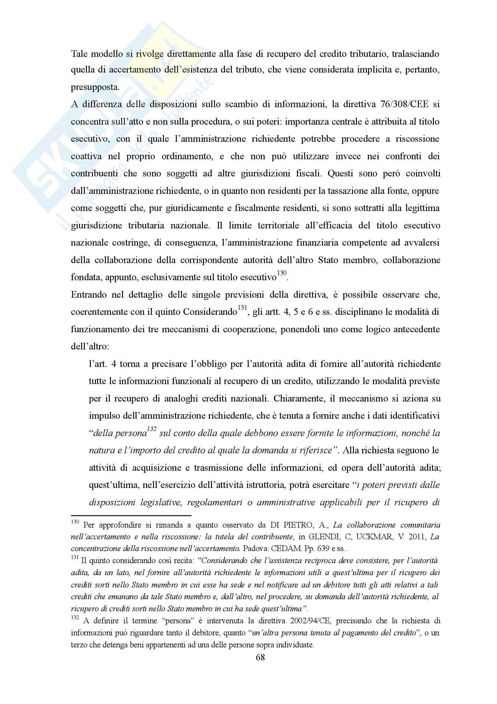 La cooperazione amministrativa tra gli Stati membri dell'Unione Europea, Diritto Pag. 76