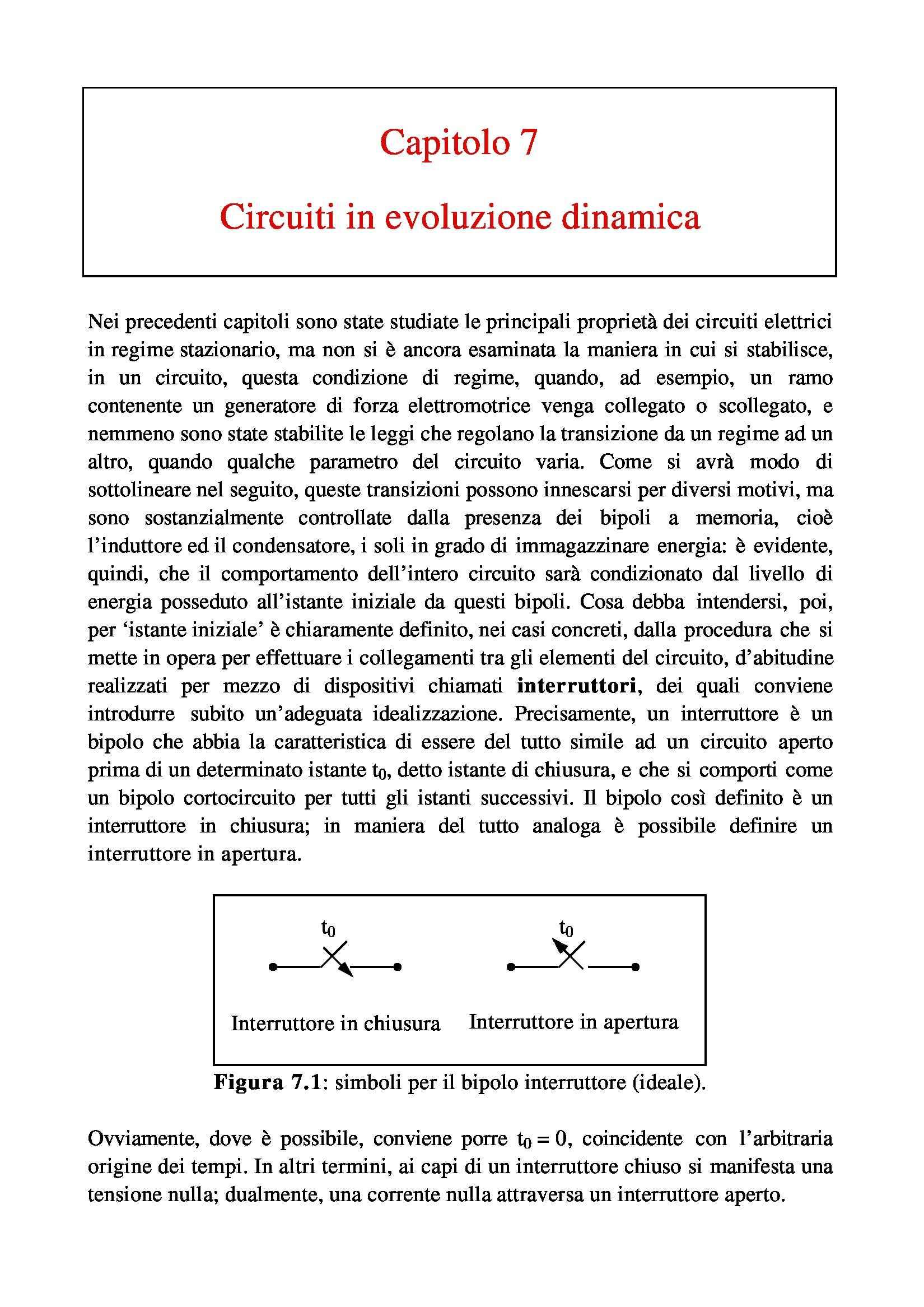 Elettrotecnica - i circuiti in evoluzione dinamica