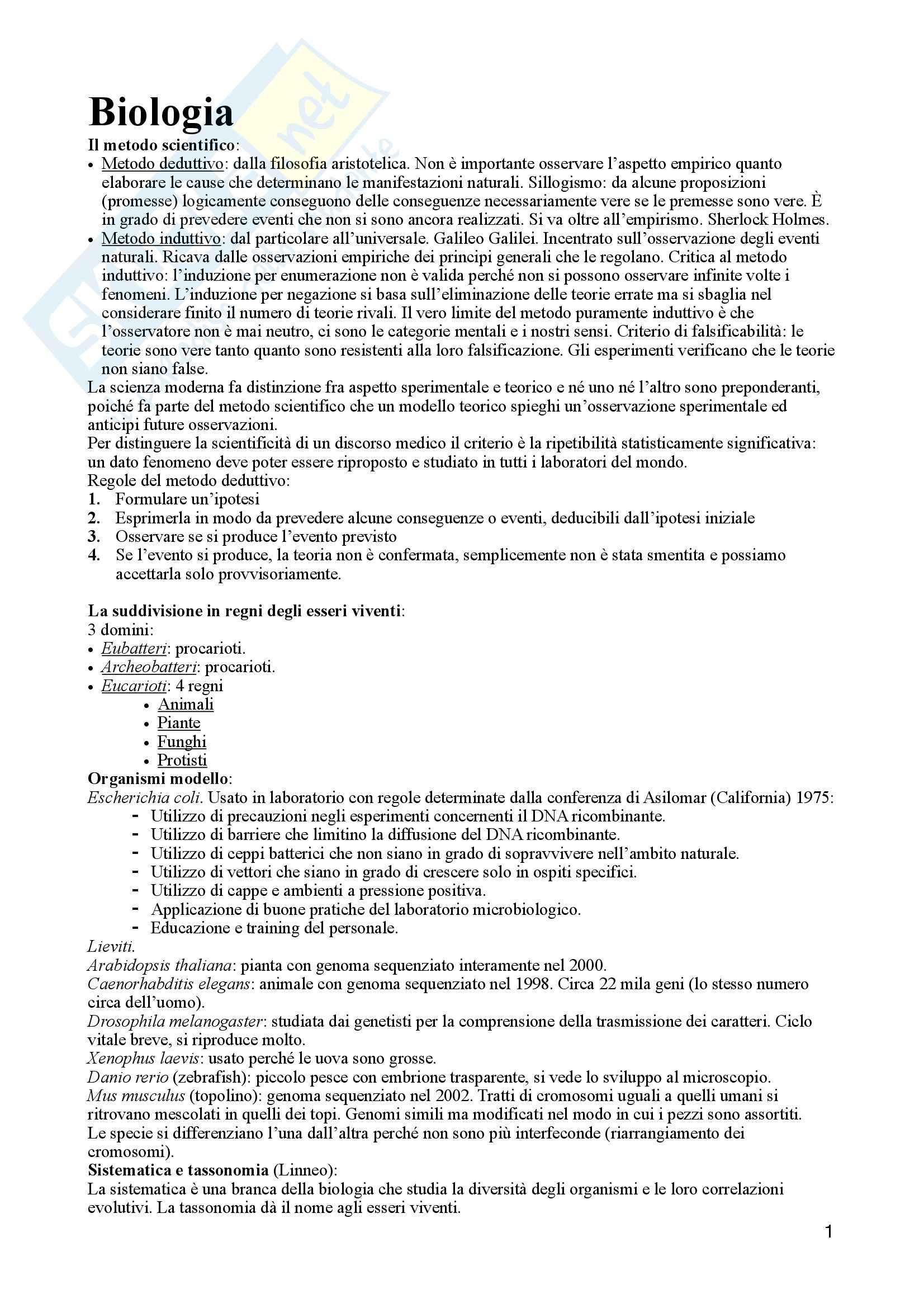 Biologia Molecolare e Biologia cellulare - Appunti