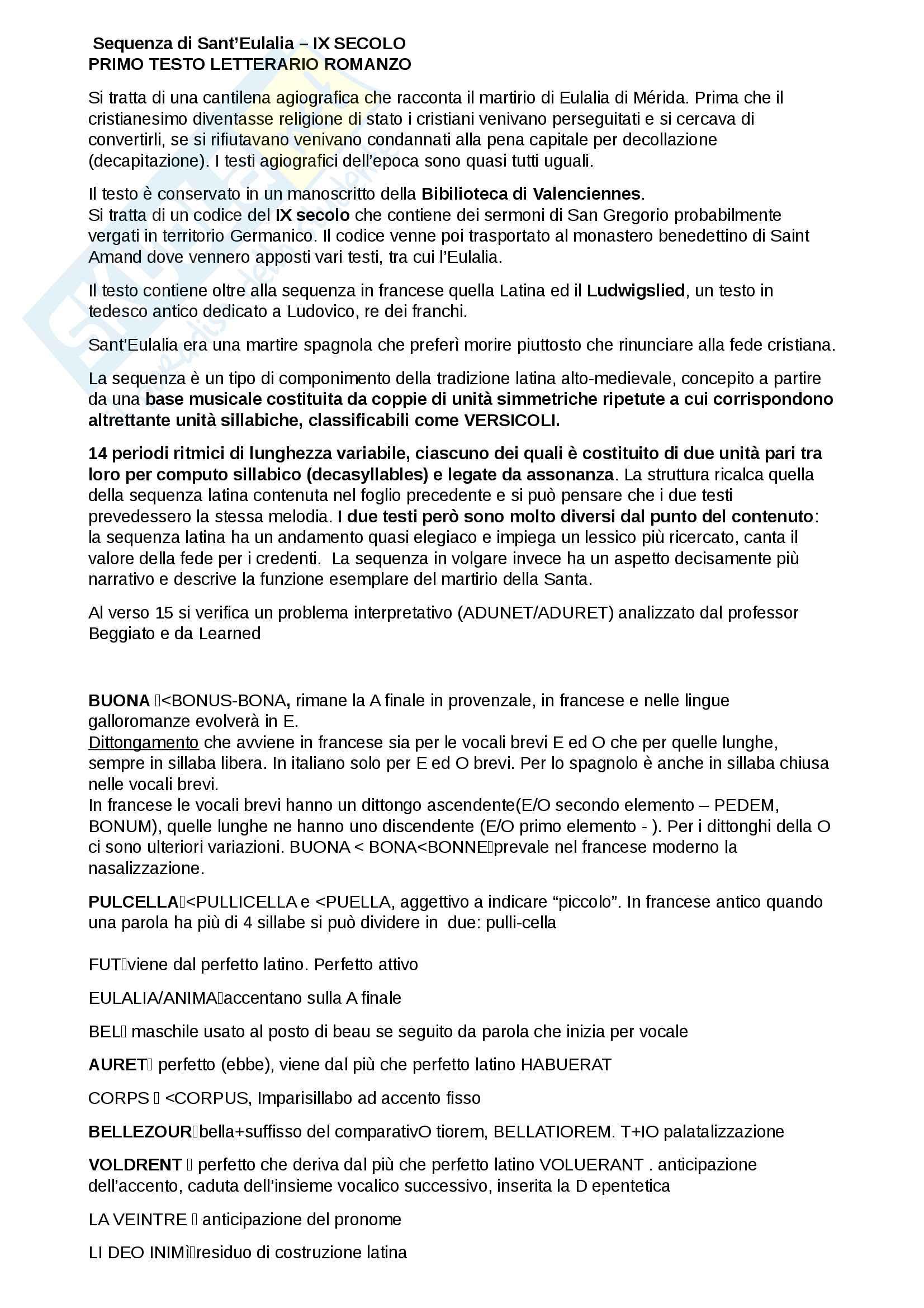 Sequenza di Sant'Eulalia - contesto storico, analisi metrica, analisi linguistica