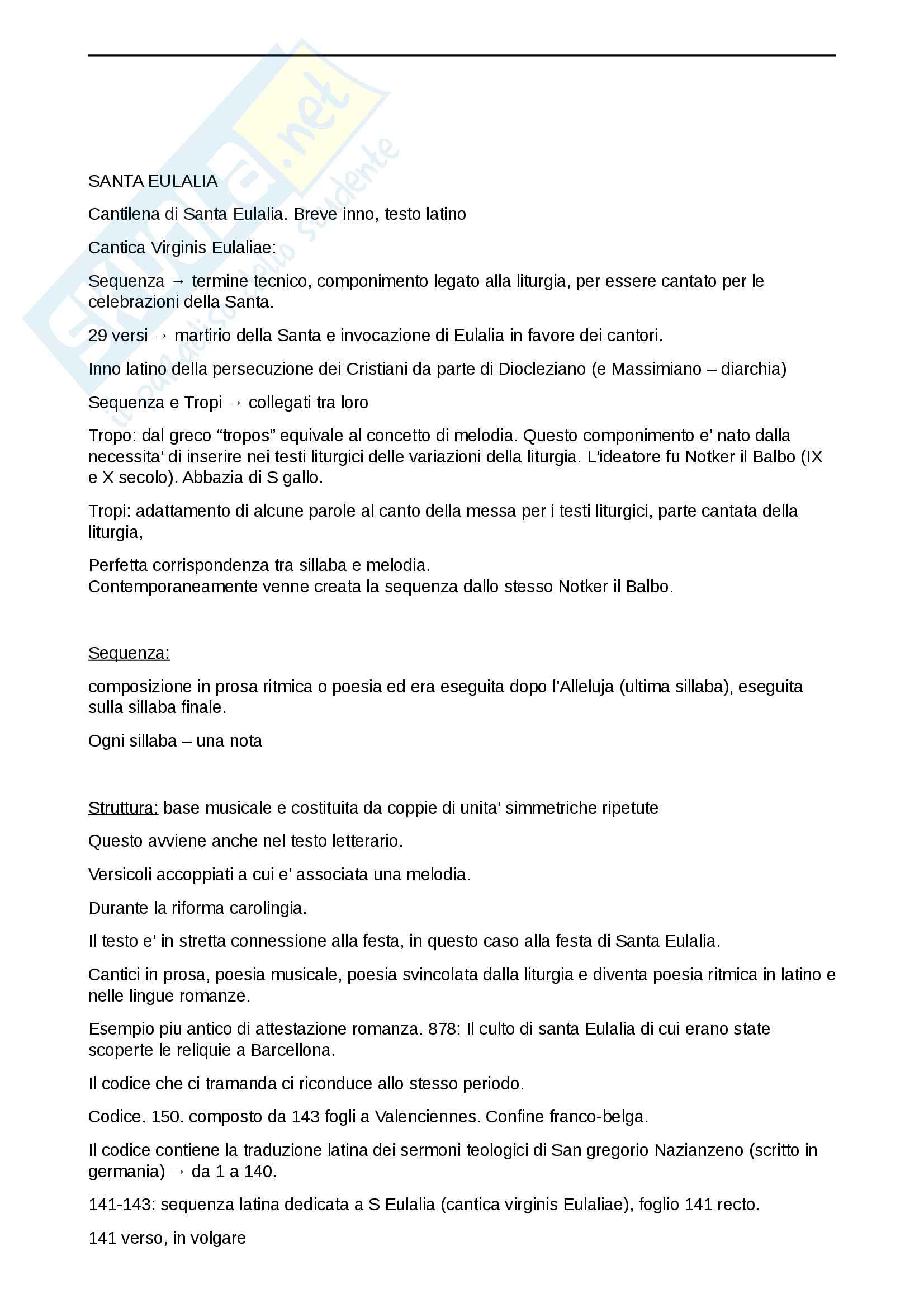 Sequenza di Sant'Eulalia - contesto storico, analisi metrica, analisi linguistica Pag. 6