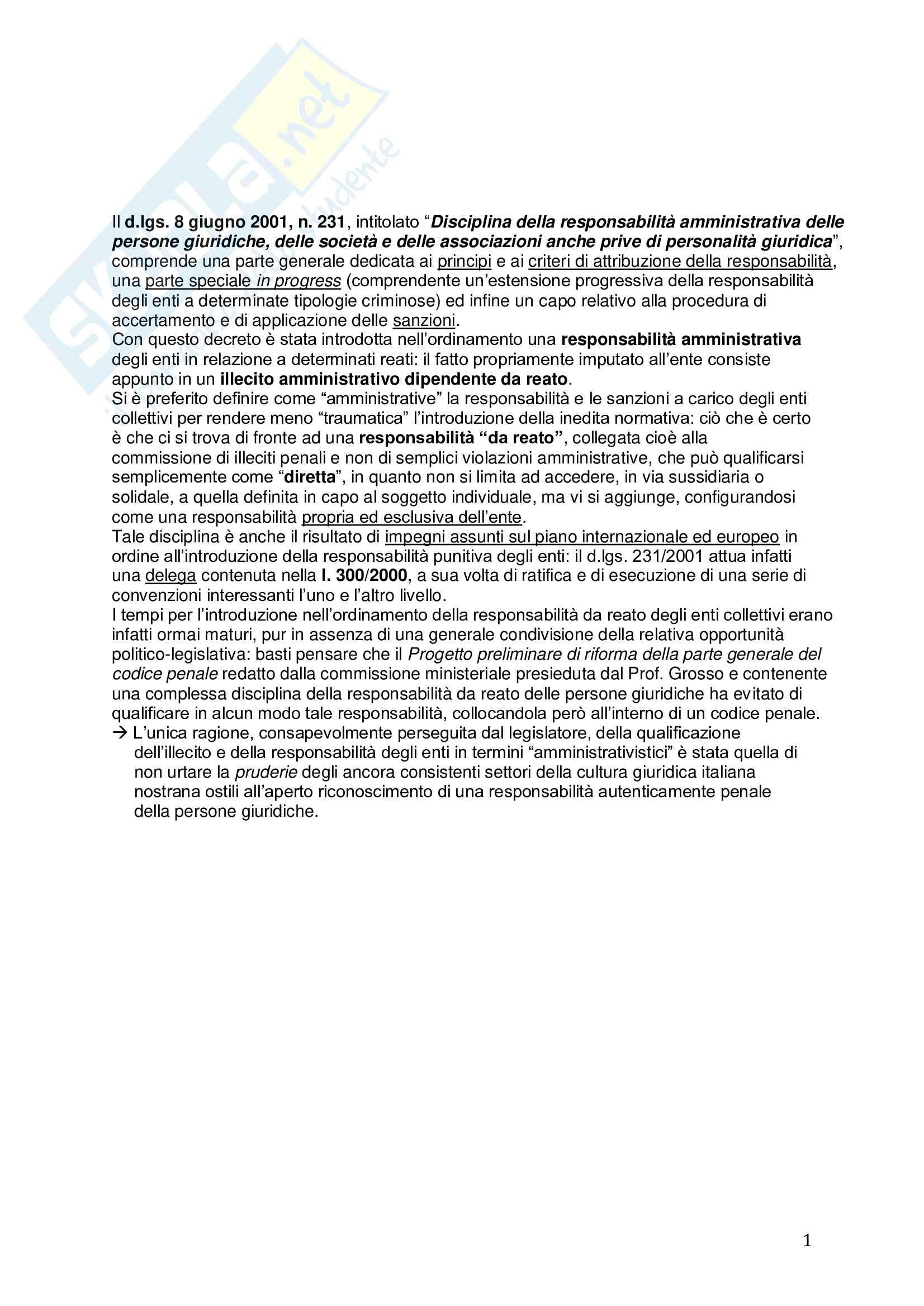 Riassunto esame Diritto, prof. Picotti, libro consigliato La responsabilità penale delle persone giuridiche, De Vero Pag. 1