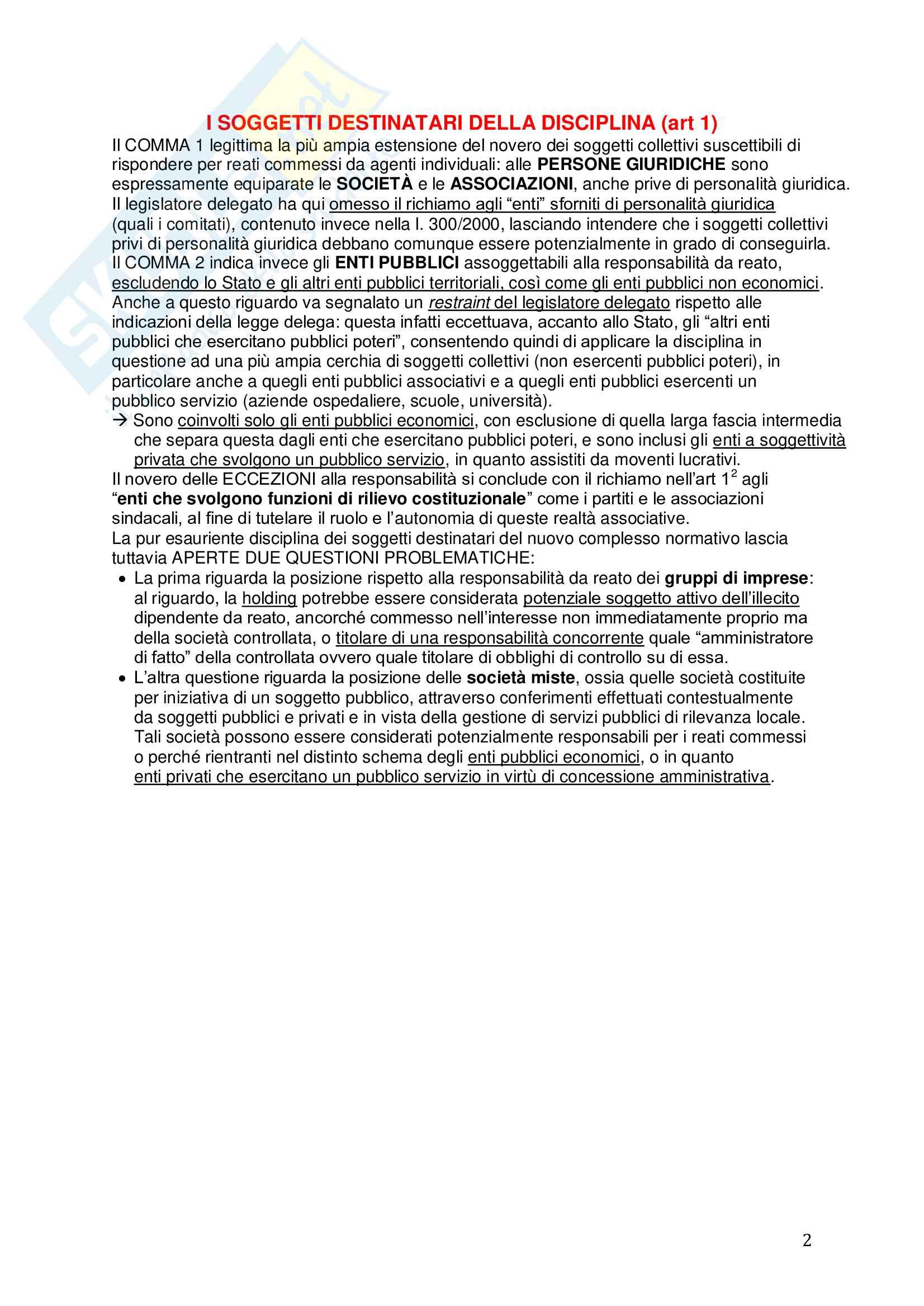 Riassunto esame Diritto, prof. Picotti, libro consigliato La responsabilità penale delle persone giuridiche, De Vero Pag. 2
