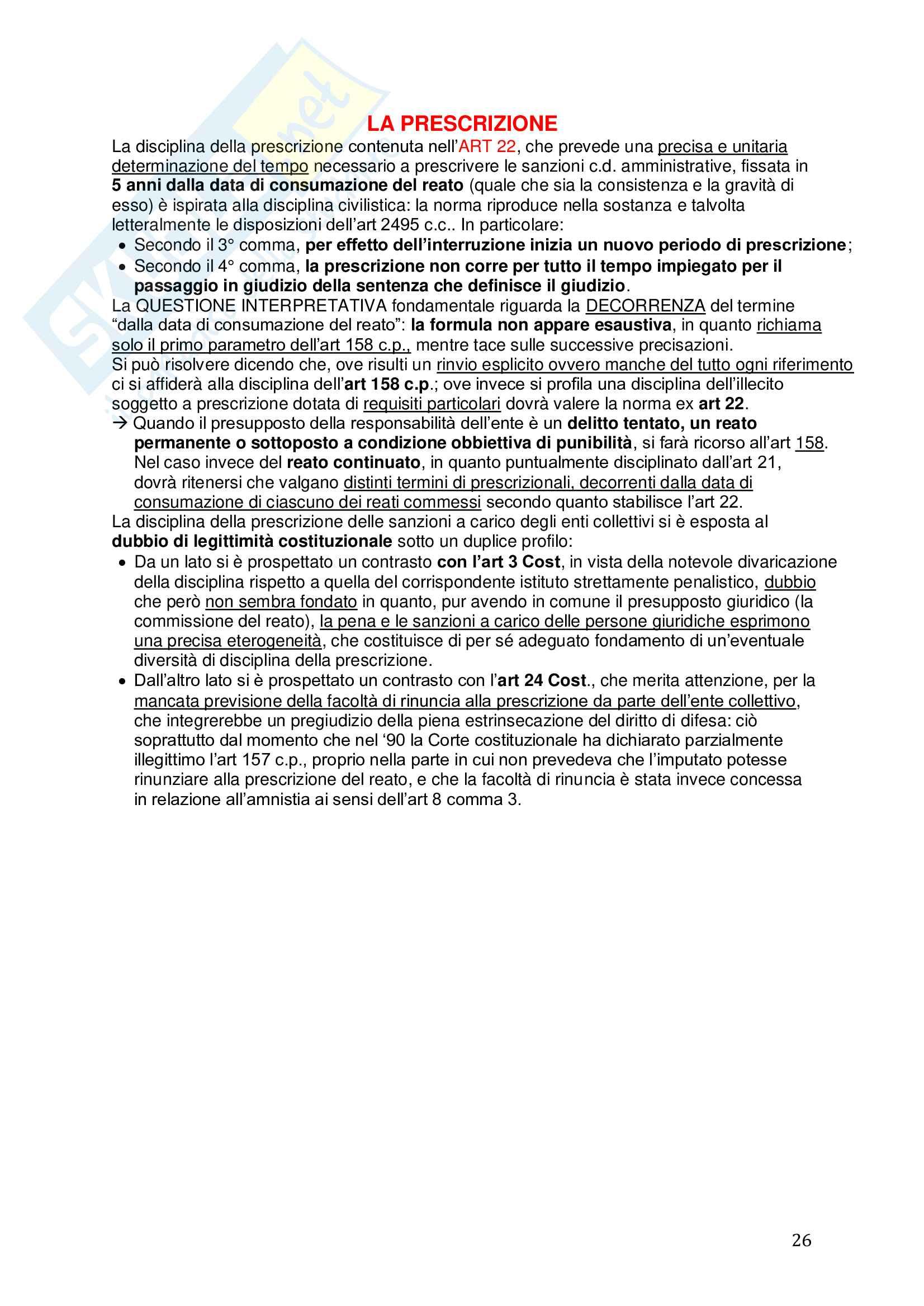 Riassunto esame Diritto, prof. Picotti, libro consigliato La responsabilità penale delle persone giuridiche, De Vero Pag. 26