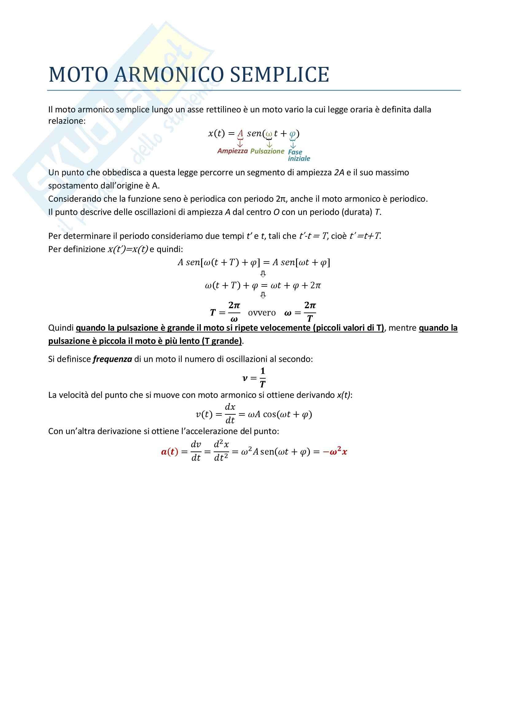 Fisica I - il moto armonico semplice