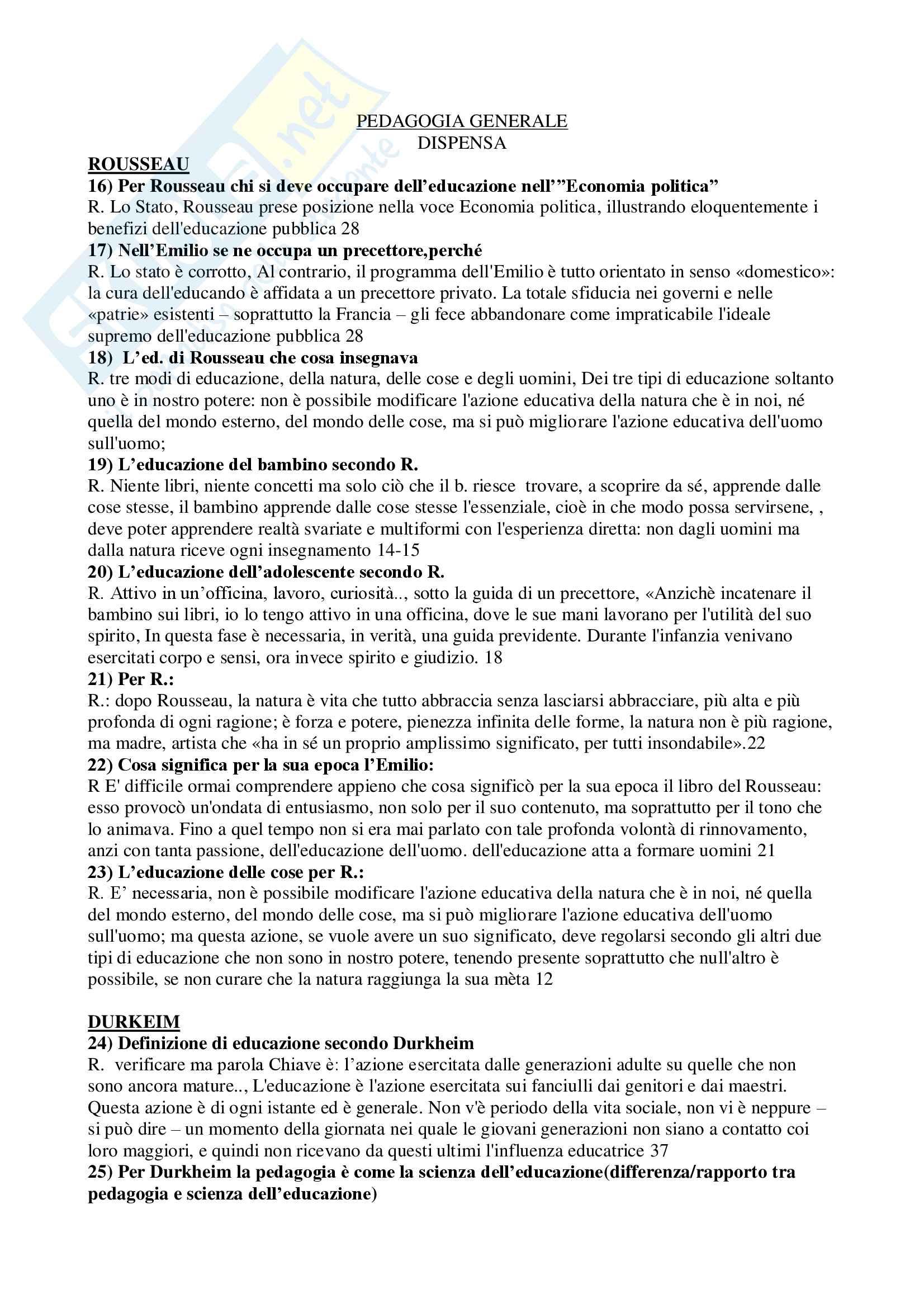 Domande e risposte pedagogia generale e libro L'Emilio