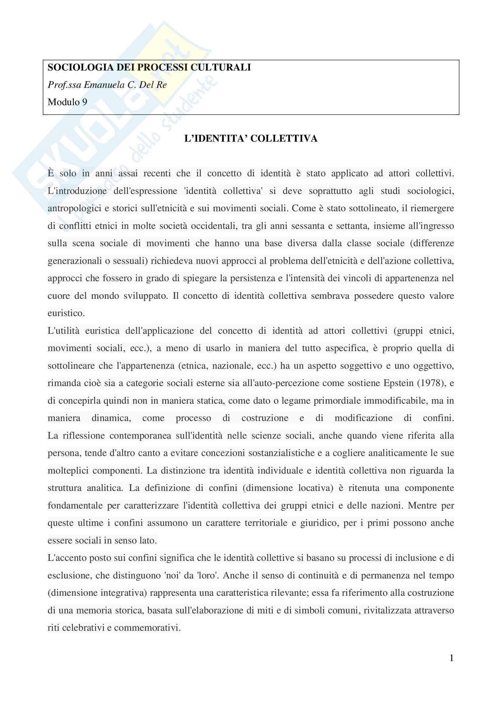 appunto E. Del Re Sociologia dei processi culturali e comunicativi
