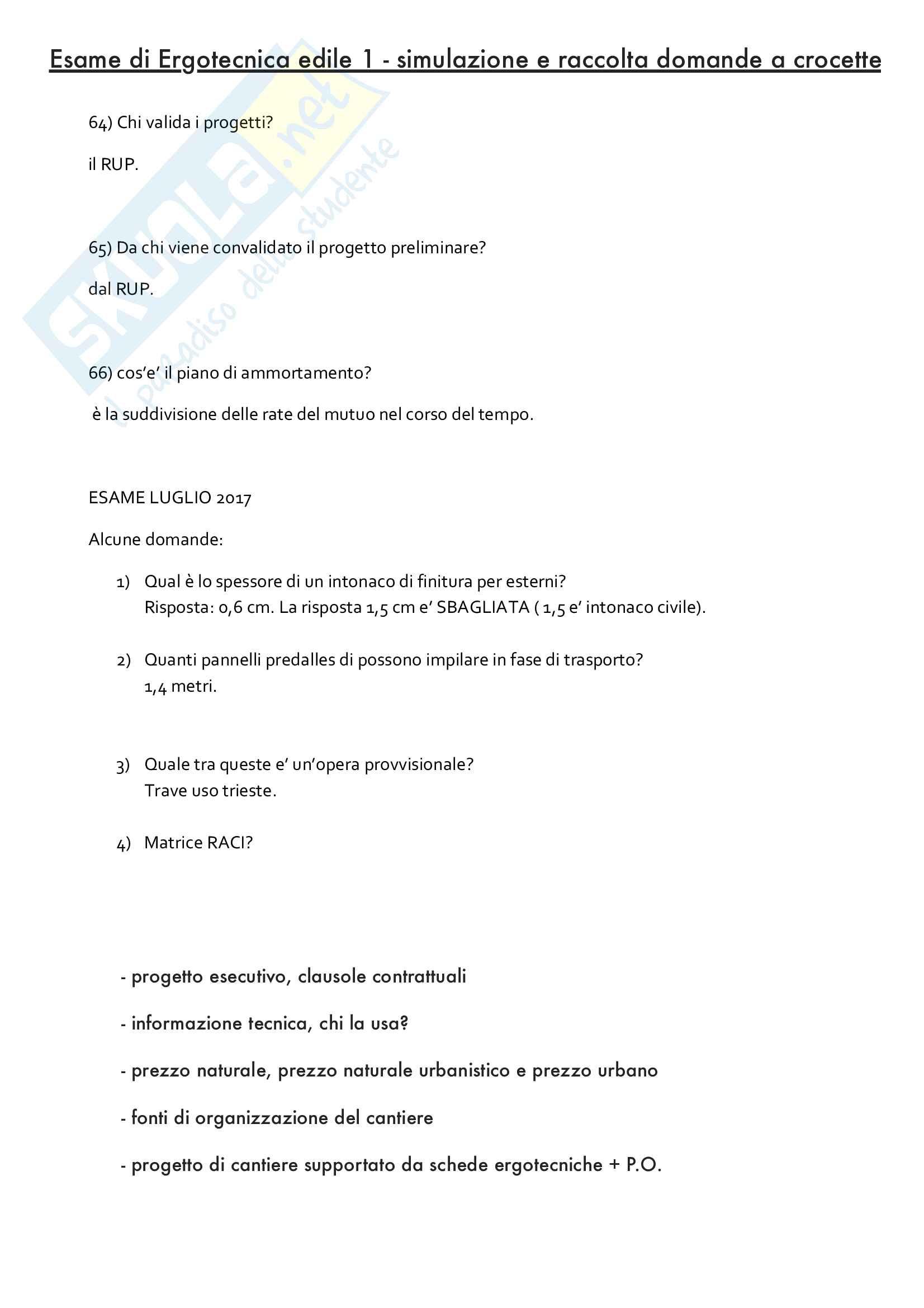 Raccolta domande a crocette di Ergotecnica edile 1 (ora BIM)