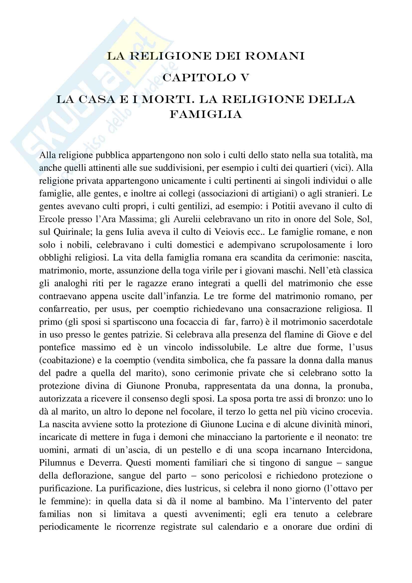 Riassunto esame Storia Romana, prof. Messana, libro consigliato La Religione dei Romani, Champeux - cap 5