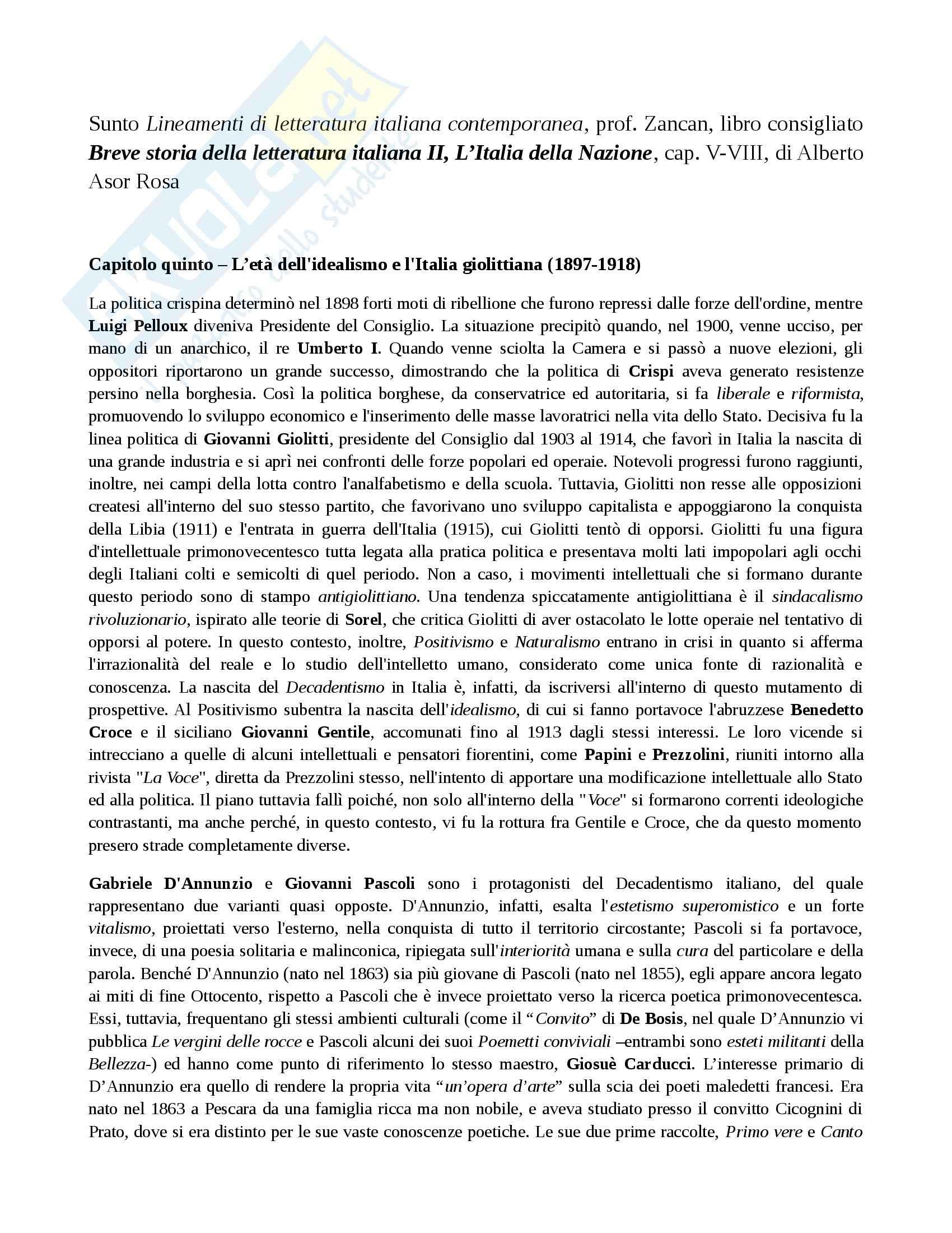 Riassunto esame Letteratura italiana, prof. Zancan, libro consigliato Breve storia della letteratura italiana II, L'Italia della Nazione, Asor Rosa