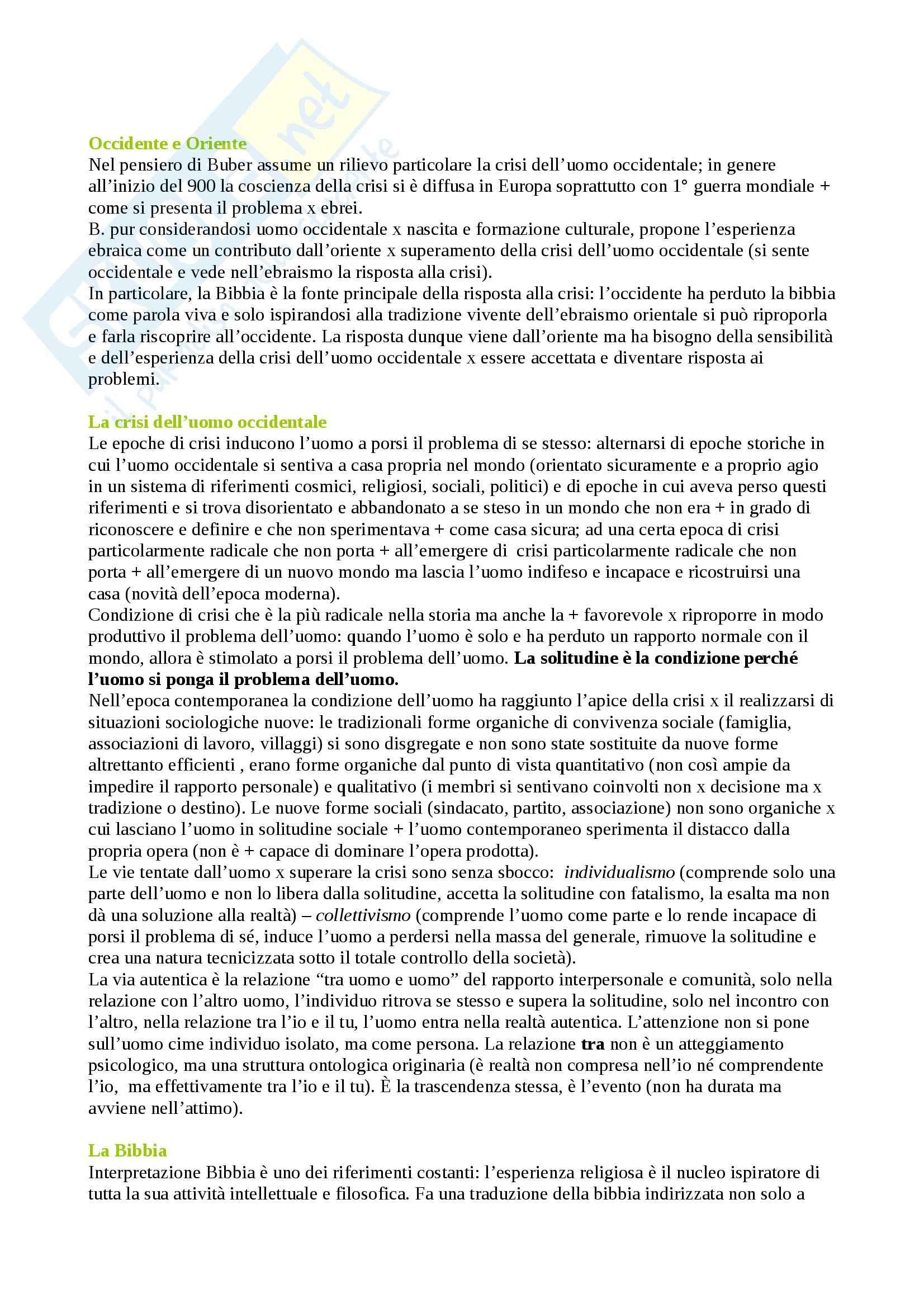 Riassunto esame Pedagogia, prof. Chiosso, libro consigliato Il principio dialogico, Buber